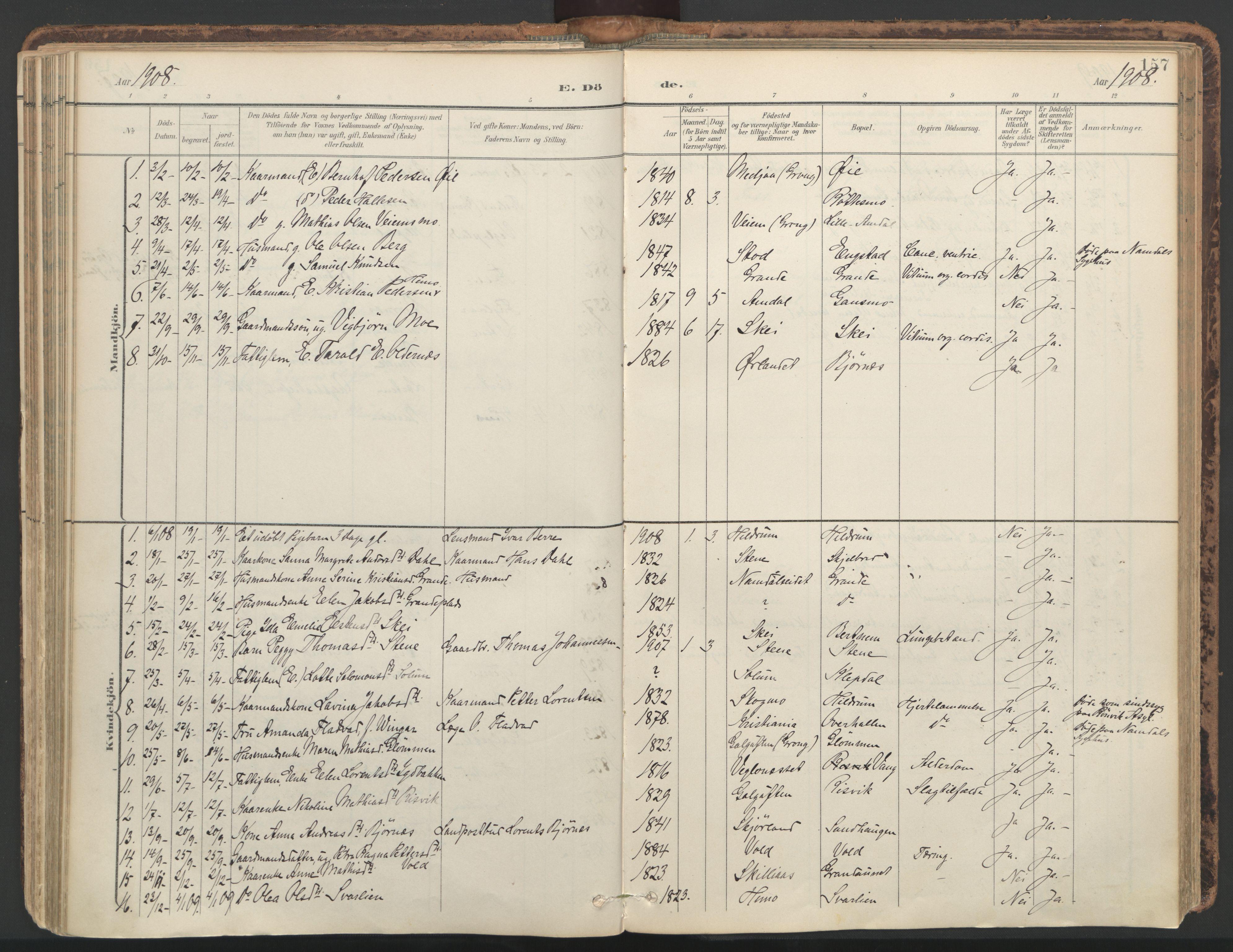 SAT, Ministerialprotokoller, klokkerbøker og fødselsregistre - Nord-Trøndelag, 764/L0556: Ministerialbok nr. 764A11, 1897-1924, s. 157