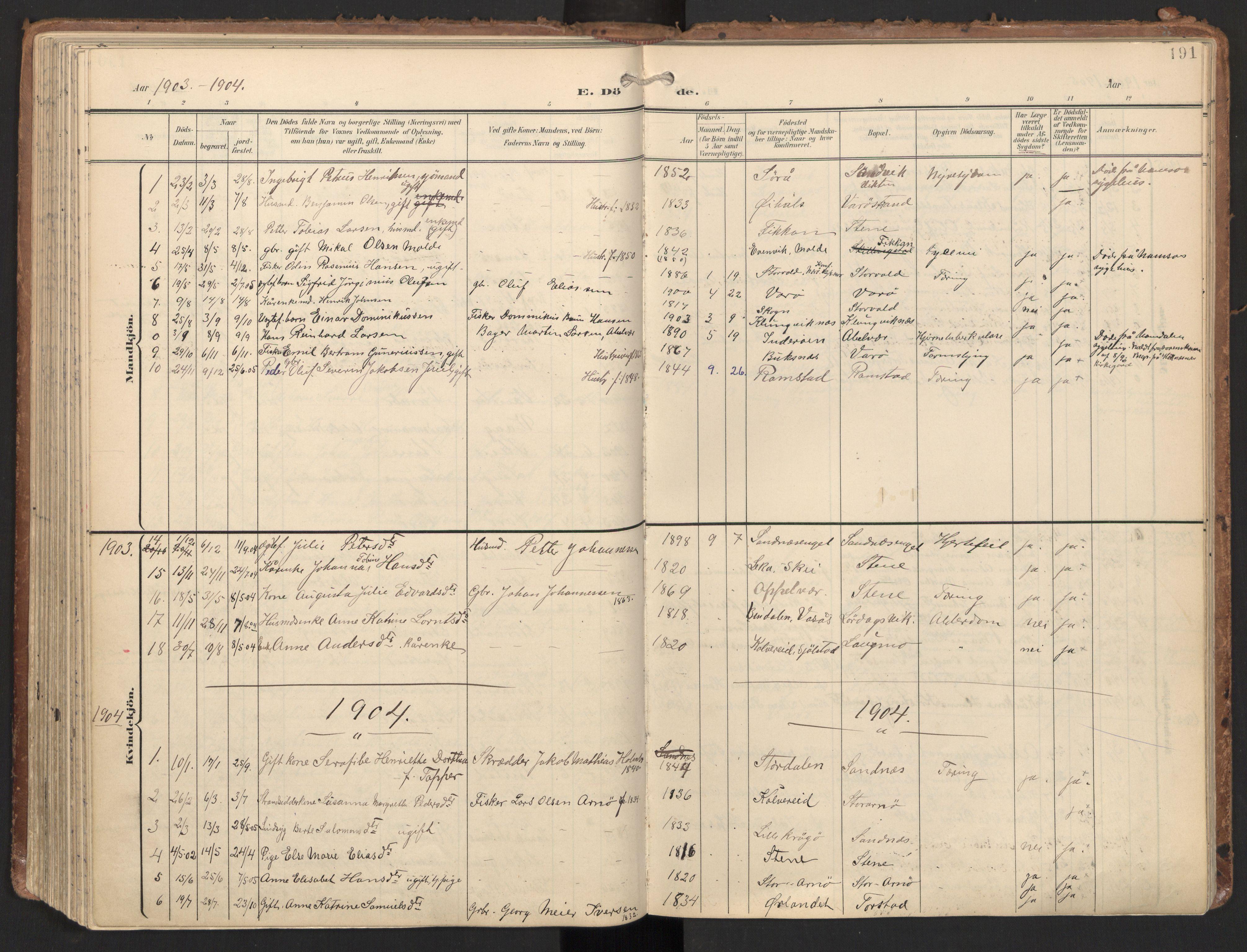 SAT, Ministerialprotokoller, klokkerbøker og fødselsregistre - Nord-Trøndelag, 784/L0677: Ministerialbok nr. 784A12, 1900-1920, s. 191