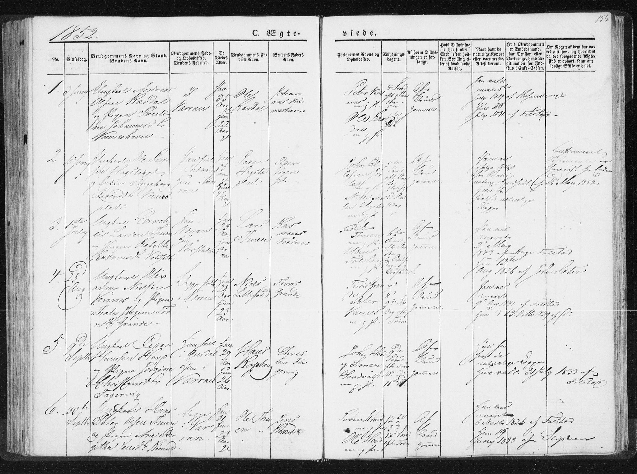 SAT, Ministerialprotokoller, klokkerbøker og fødselsregistre - Nord-Trøndelag, 744/L0418: Ministerialbok nr. 744A02, 1843-1866, s. 154
