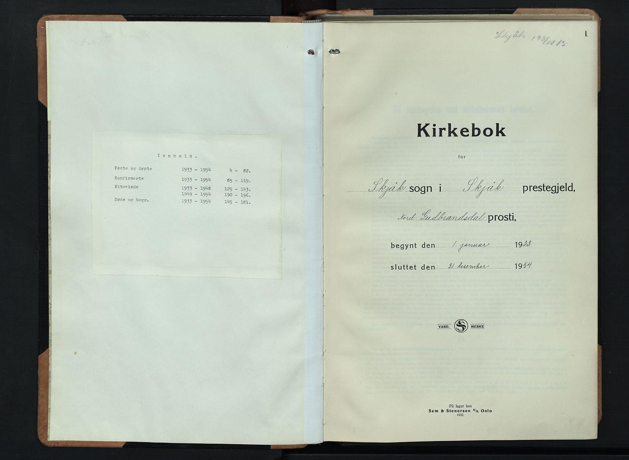 SAH, Skjåk prestekontor, Klokkerbok nr. 6, 1933-1954, s. 1