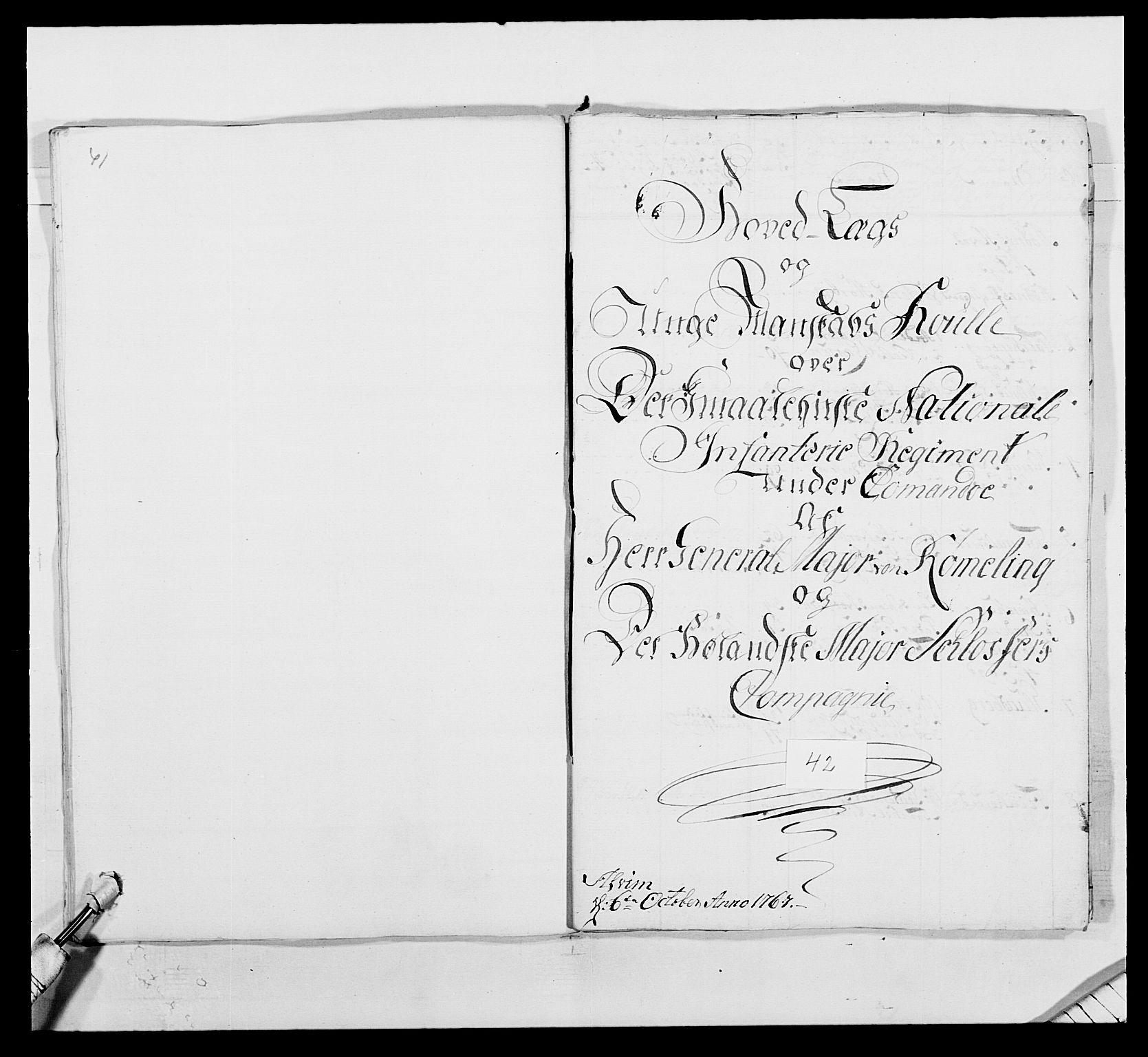 RA, Kommanderende general (KG I) med Det norske krigsdirektorium, E/Ea/L0496: 1. Smålenske regiment, 1765-1767, s. 809