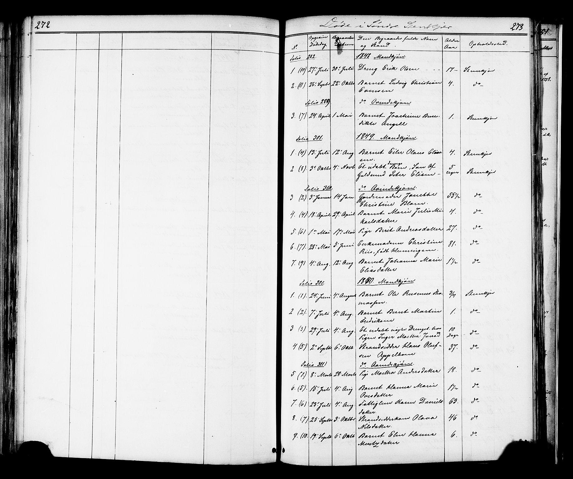 SAT, Ministerialprotokoller, klokkerbøker og fødselsregistre - Nord-Trøndelag, 739/L0367: Ministerialbok nr. 739A01 /1, 1838-1868, s. 272-273
