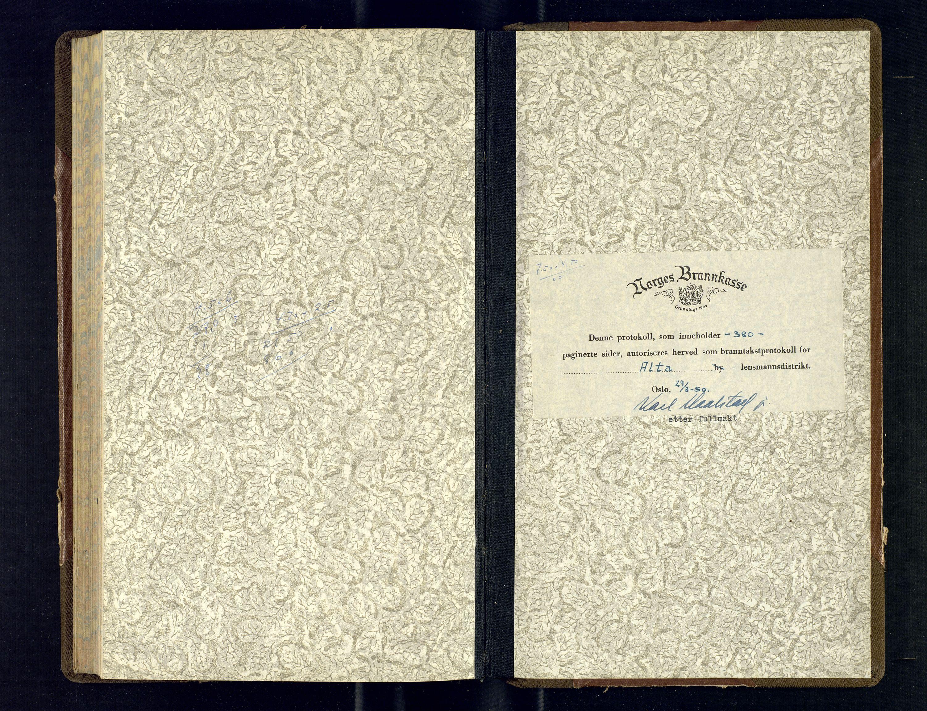 SATØ, Lensmannen i Alta, O/Ob/L0183: Branntakstprotokoll, 1950-1953
