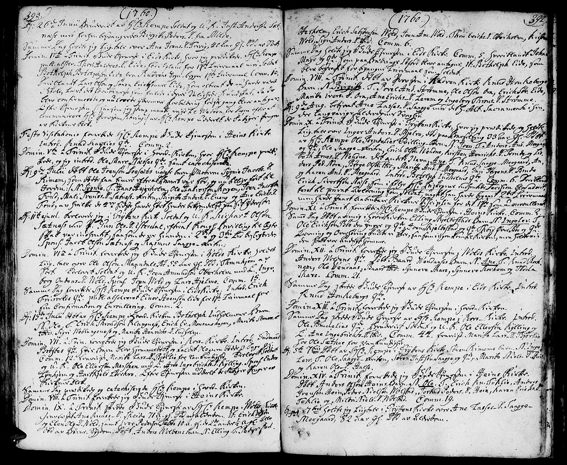SAT, Ministerialprotokoller, klokkerbøker og fødselsregistre - Møre og Romsdal, 544/L0568: Ministerialbok nr. 544A01, 1725-1763, s. 393-394