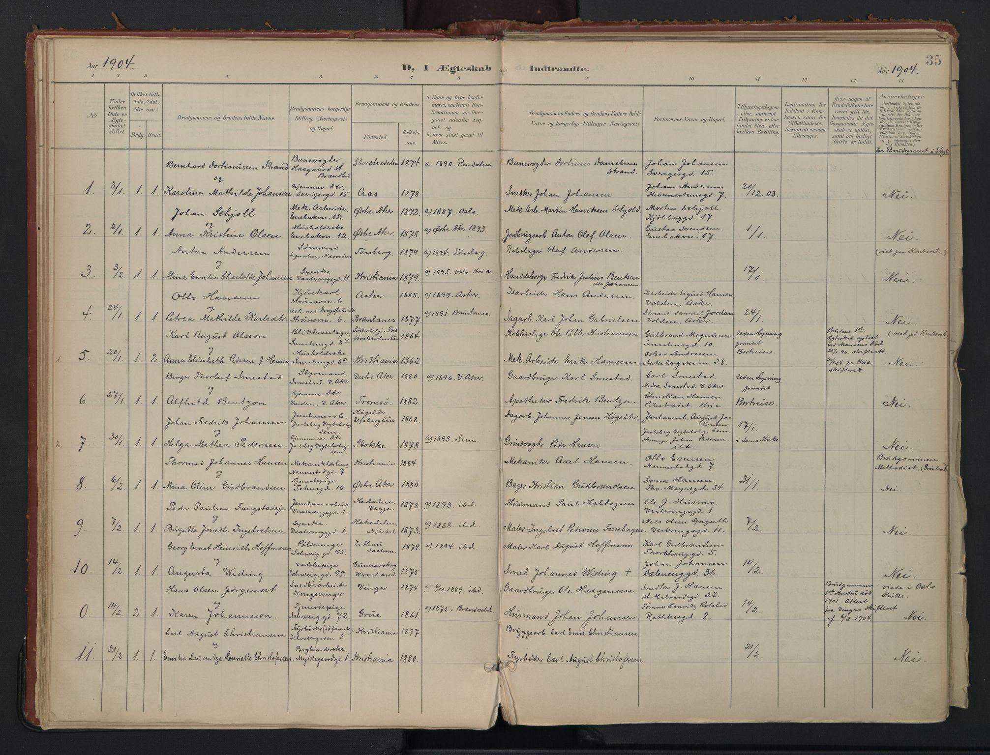 SAO, Vålerengen prestekontor Kirkebøker, F/Fa/L0002: Ministerialbok nr. 2, 1899-1924, s. 35