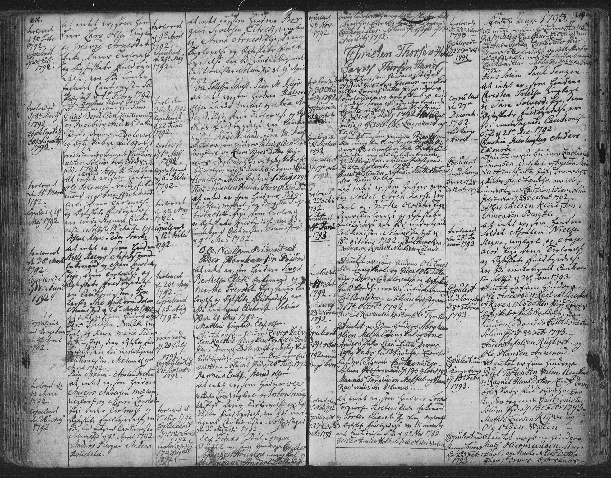 SAKO, Solum kirkebøker, F/Fa/L0003: Ministerialbok nr. I 3, 1761-1814, s. 218-219