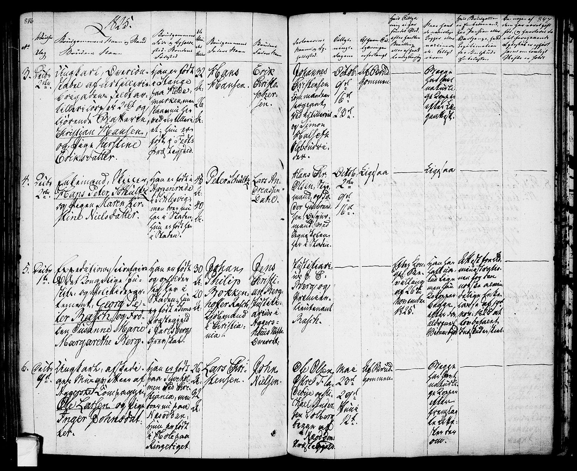 SAO, Oslo domkirke Kirkebøker, F/Fa/L0010: Ministerialbok nr. 10, 1824-1830, s. 846-847