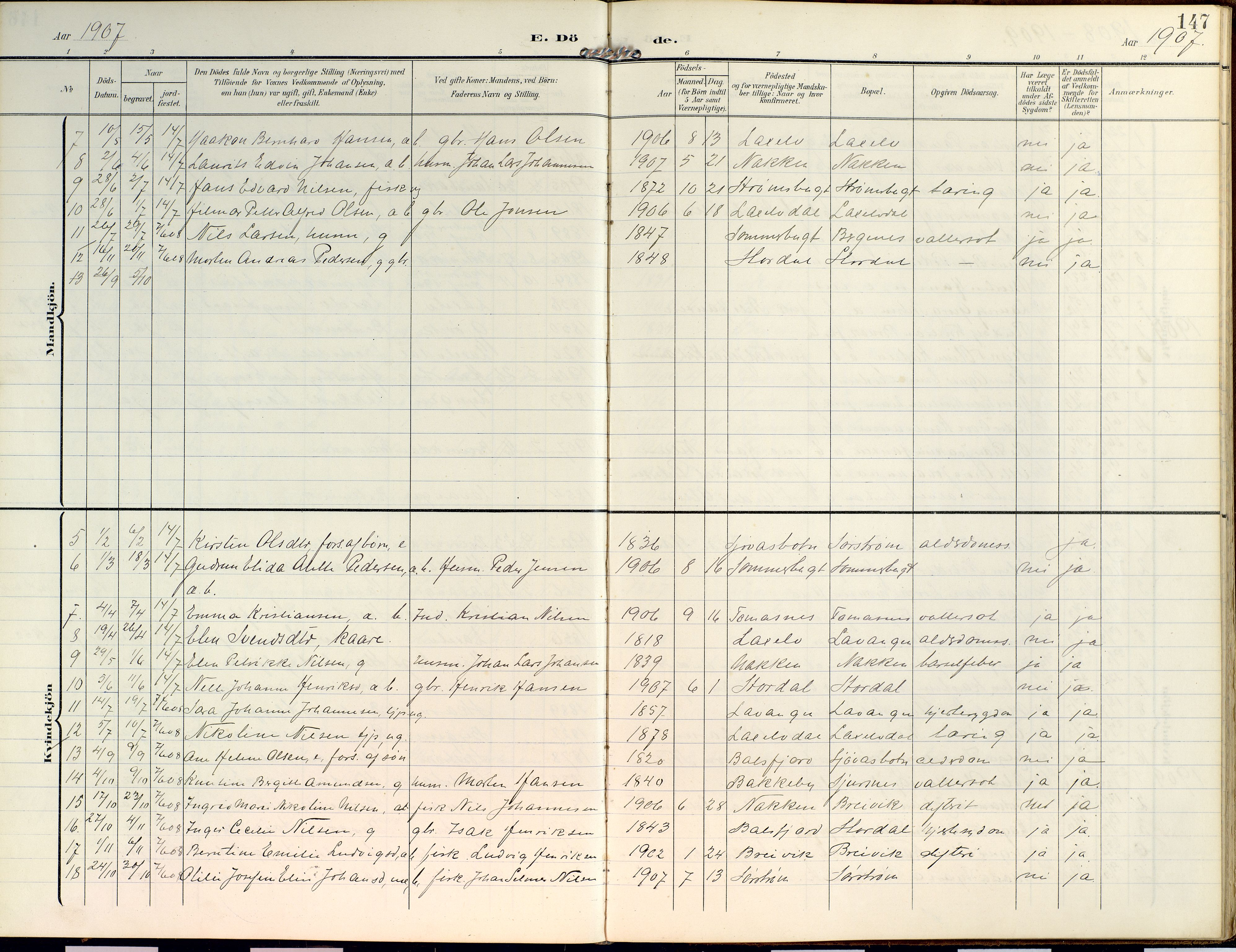 SATØ, Lyngen sokneprestembete, Ministerialbok nr. 14, 1905-1920, s. 147