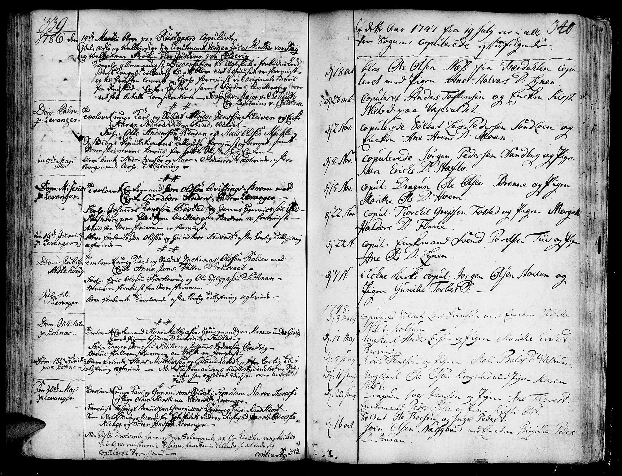 SAT, Ministerialprotokoller, klokkerbøker og fødselsregistre - Nord-Trøndelag, 717/L0141: Ministerialbok nr. 717A01, 1747-1803, s. 339-340