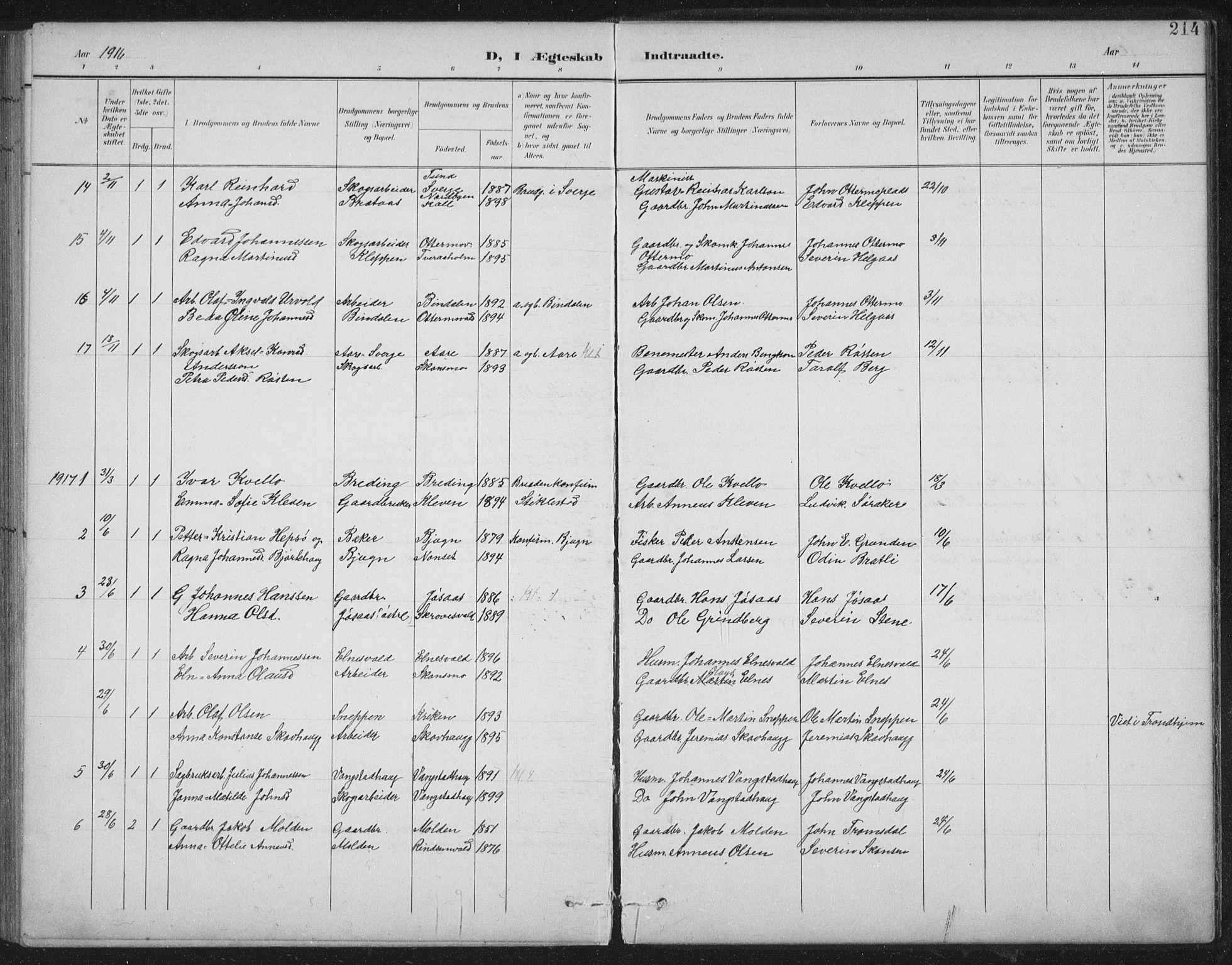 SAT, Ministerialprotokoller, klokkerbøker og fødselsregistre - Nord-Trøndelag, 724/L0269: Klokkerbok nr. 724C05, 1899-1920, s. 214
