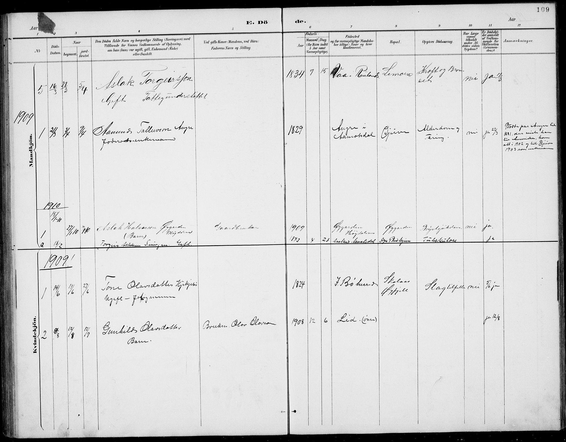 SAKO, Rauland kirkebøker, G/Gb/L0002: Klokkerbok nr. II 2, 1887-1937, s. 109