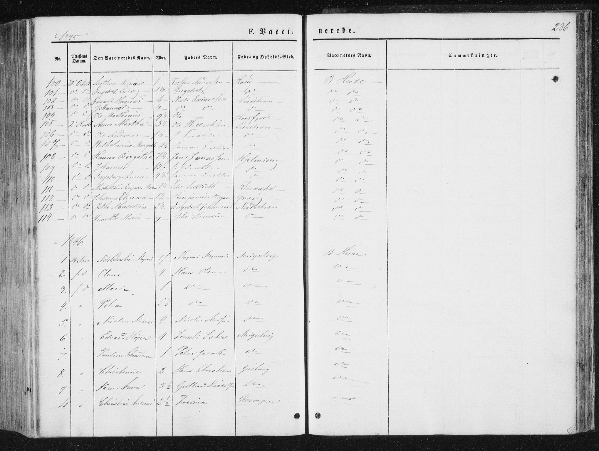 SAT, Ministerialprotokoller, klokkerbøker og fødselsregistre - Nord-Trøndelag, 780/L0640: Ministerialbok nr. 780A05, 1845-1856, s. 286