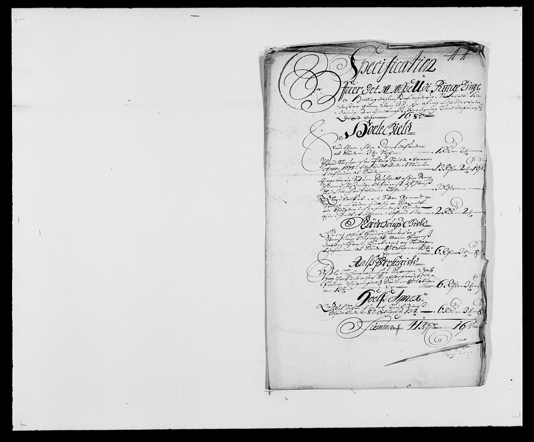 RA, Rentekammeret inntil 1814, Reviderte regnskaper, Fogderegnskap, R21/L1444: Fogderegnskap Ringerike og Hallingdal, 1680-1681, s. 35