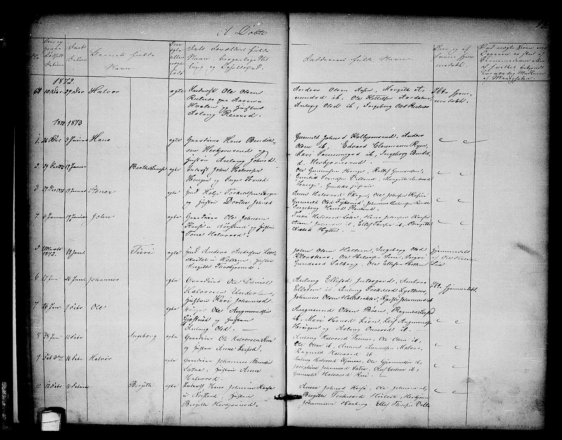 SAKO, Heddal kirkebøker, G/Ga/L0001: Klokkerbok nr. I 1, 1866-1878, s. 92-93