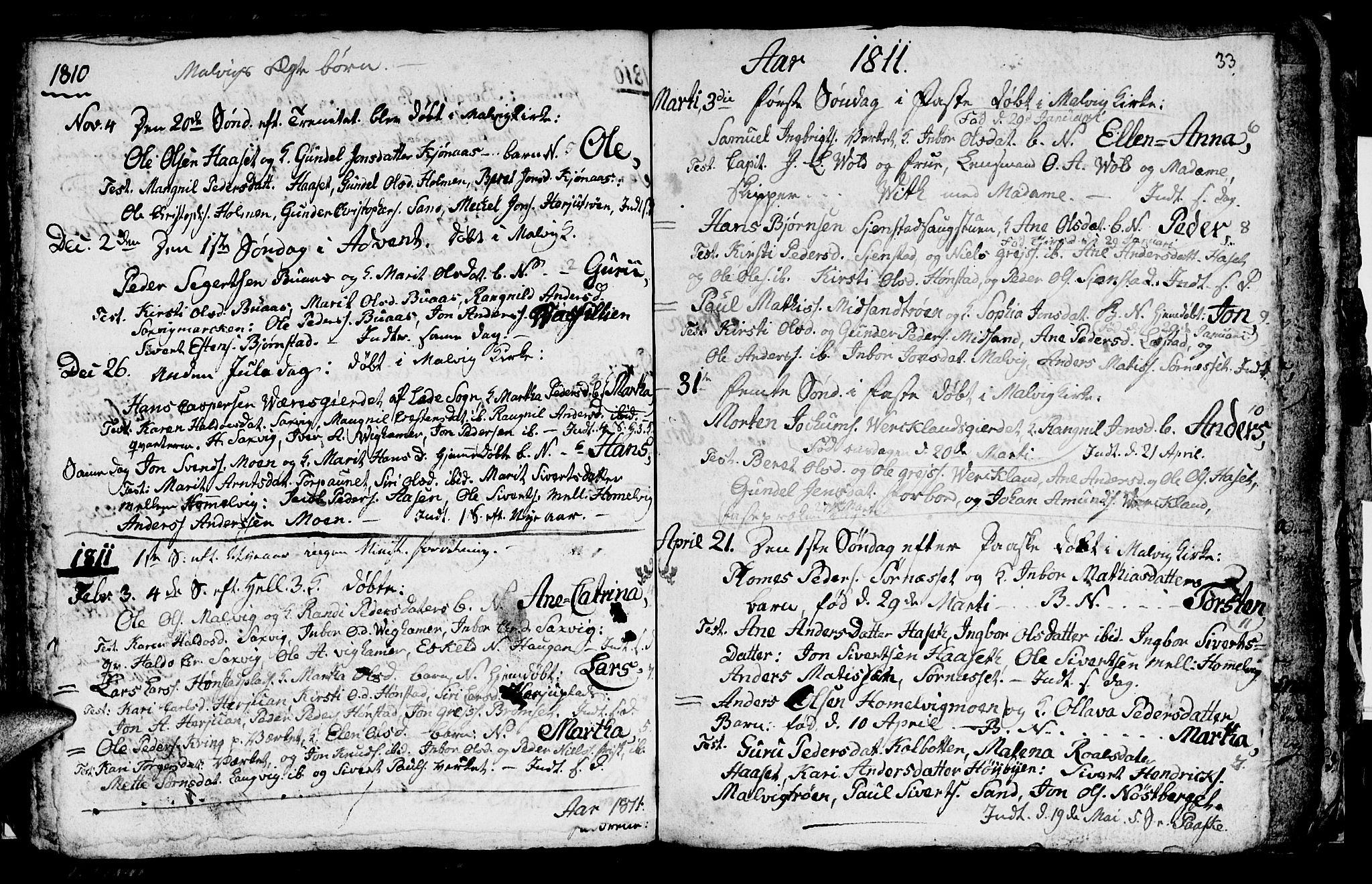 SAT, Ministerialprotokoller, klokkerbøker og fødselsregistre - Sør-Trøndelag, 616/L0419: Klokkerbok nr. 616C02, 1797-1816, s. 33