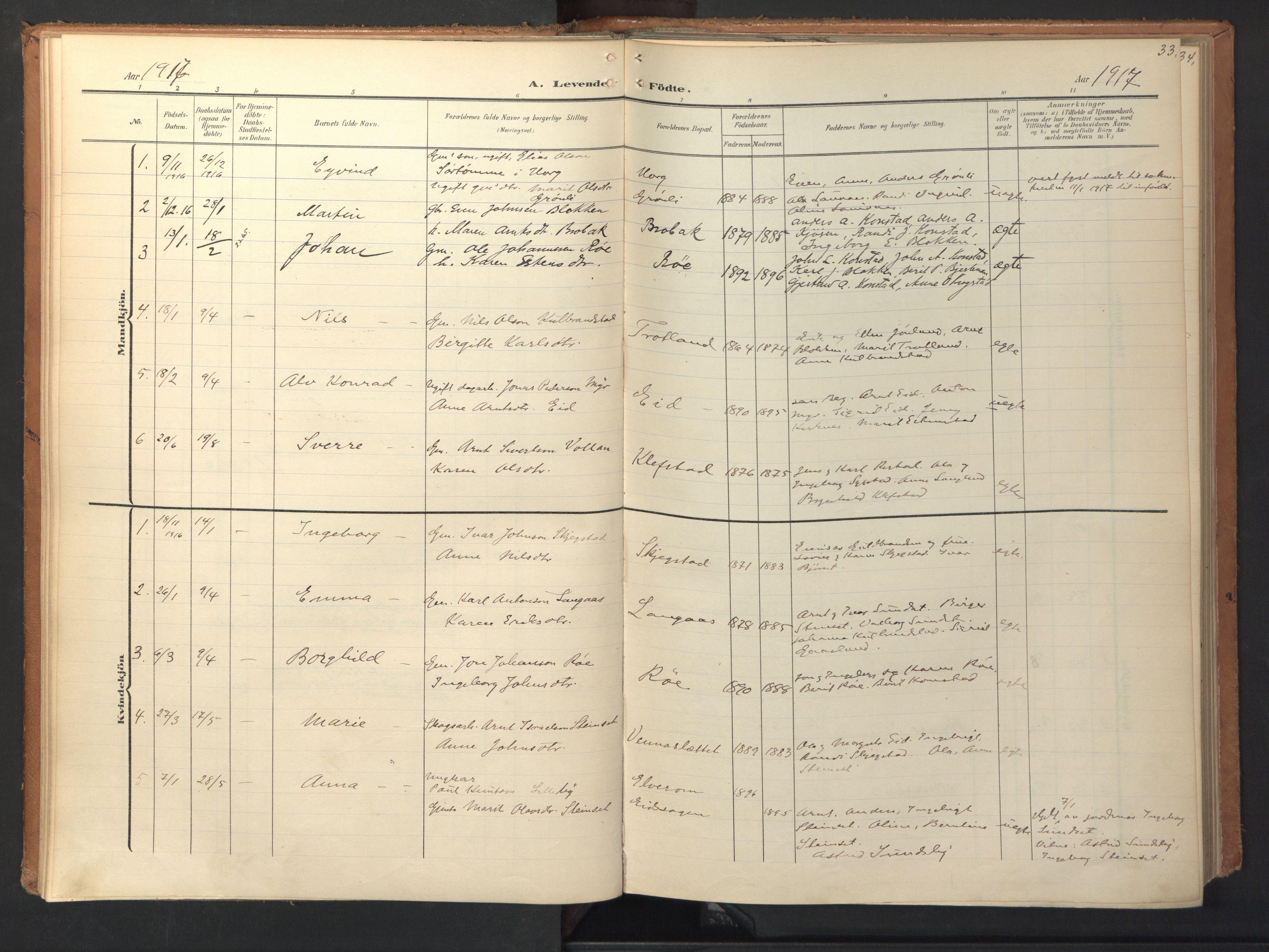 SAT, Ministerialprotokoller, klokkerbøker og fødselsregistre - Sør-Trøndelag, 694/L1128: Ministerialbok nr. 694A02, 1906-1931, s. 33