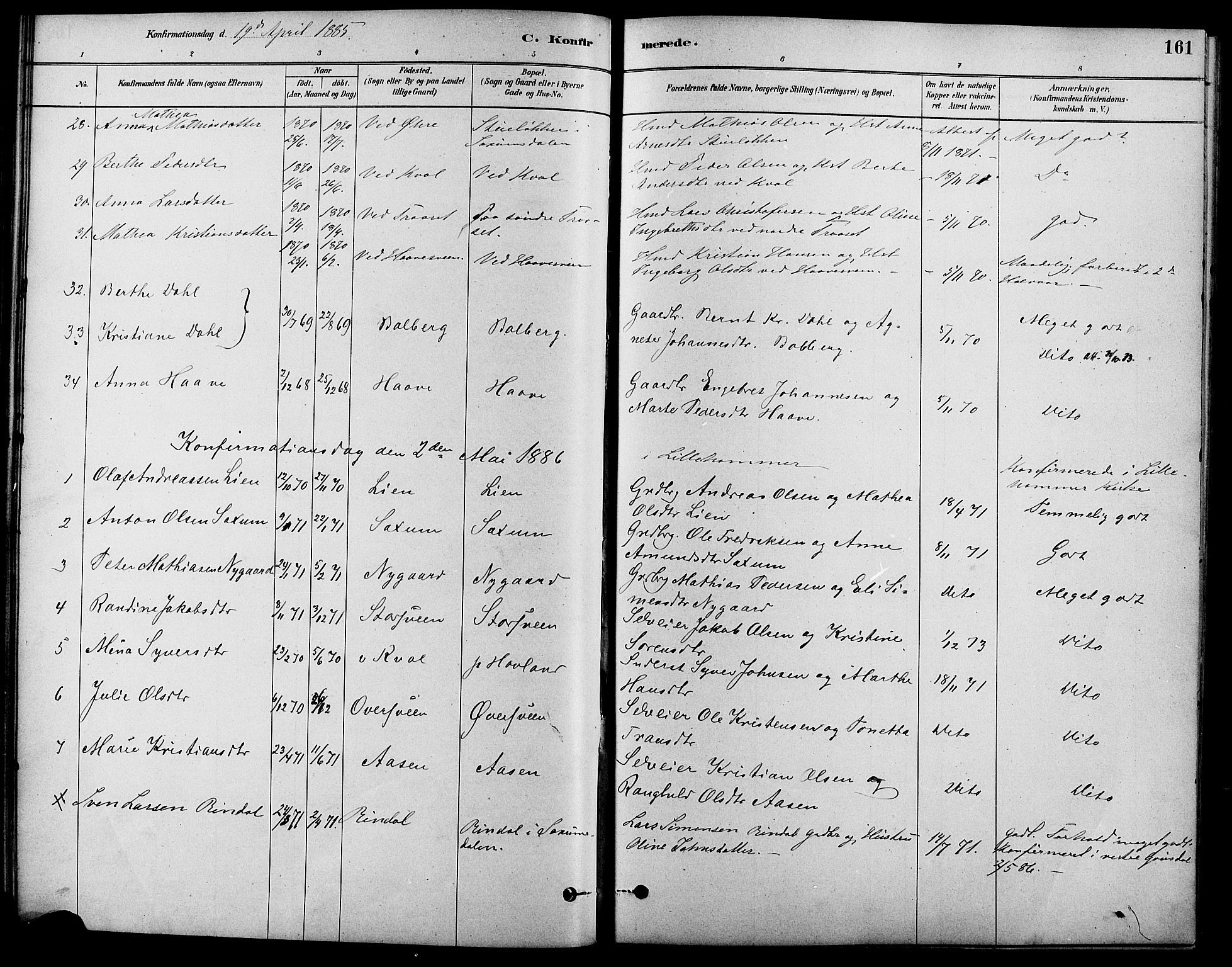 SAH, Fåberg prestekontor, Ministerialbok nr. 8, 1879-1898, s. 161