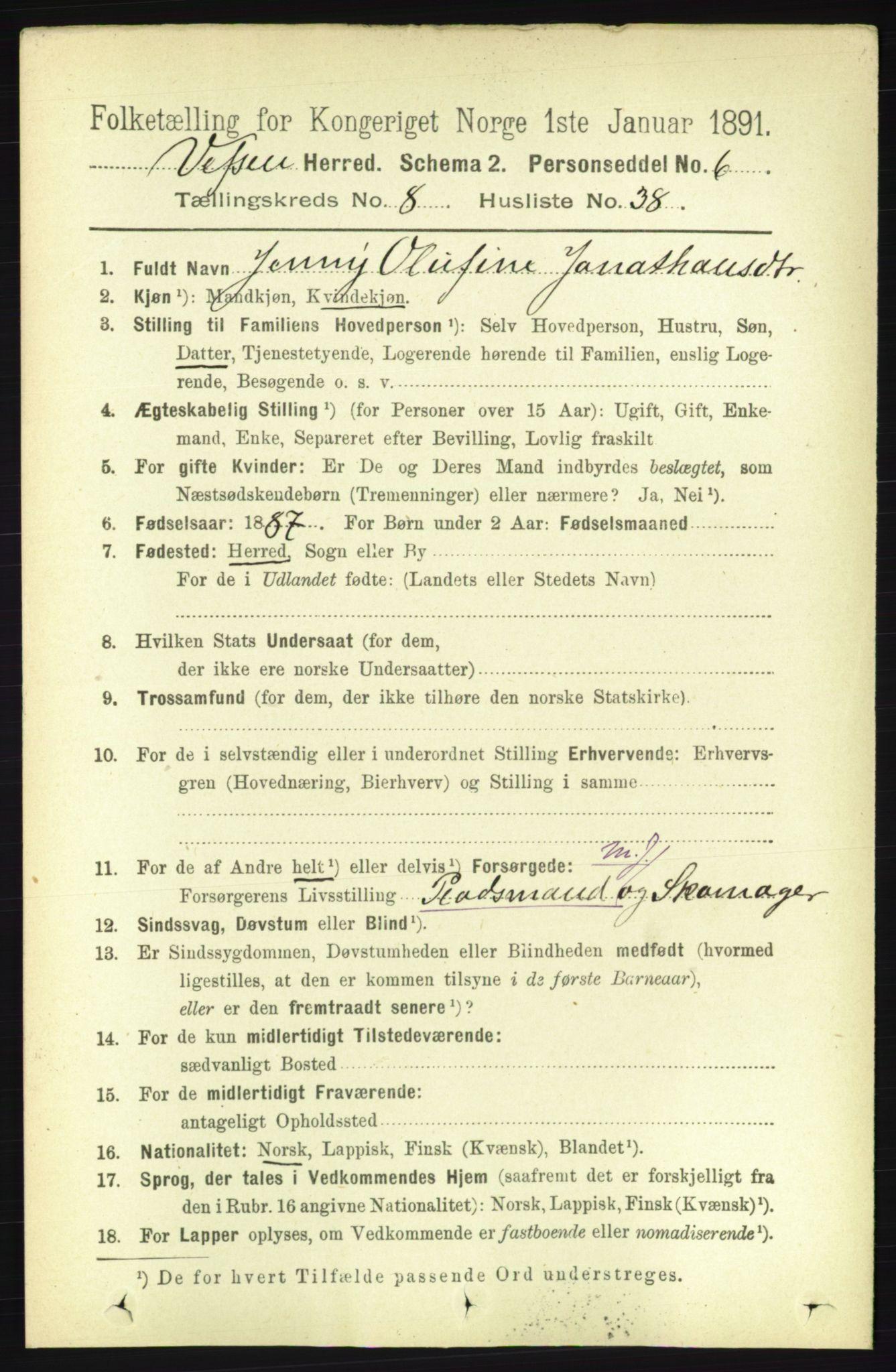 RA, Folketelling 1891 for 1824 Vefsn herred, 1891, s. 4523