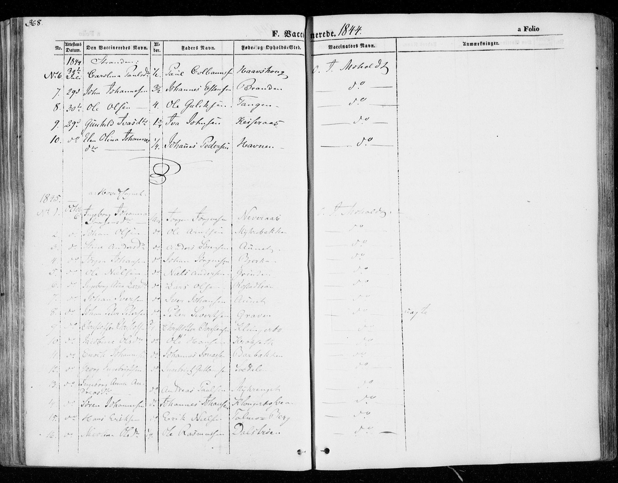 SAT, Ministerialprotokoller, klokkerbøker og fødselsregistre - Nord-Trøndelag, 701/L0007: Ministerialbok nr. 701A07 /1, 1842-1854, s. 368
