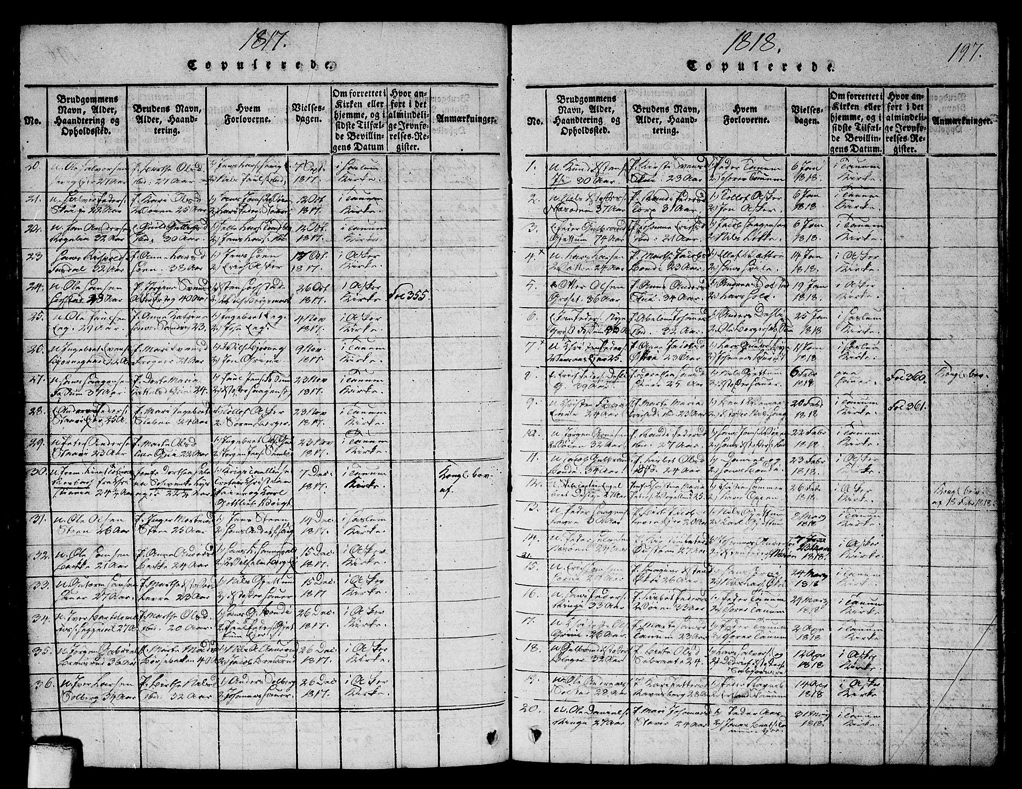 SAO, Asker prestekontor Kirkebøker, G/Ga/L0001: Klokkerbok nr. I 1, 1814-1830, s. 197