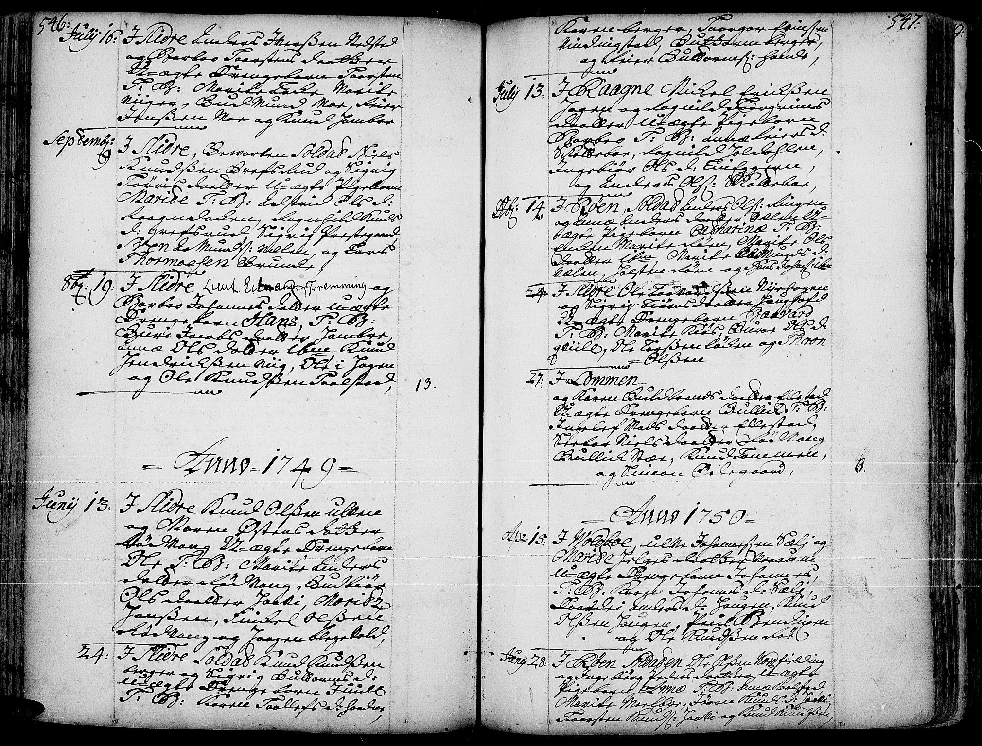 SAH, Slidre prestekontor, Ministerialbok nr. 1, 1724-1814, s. 546-547