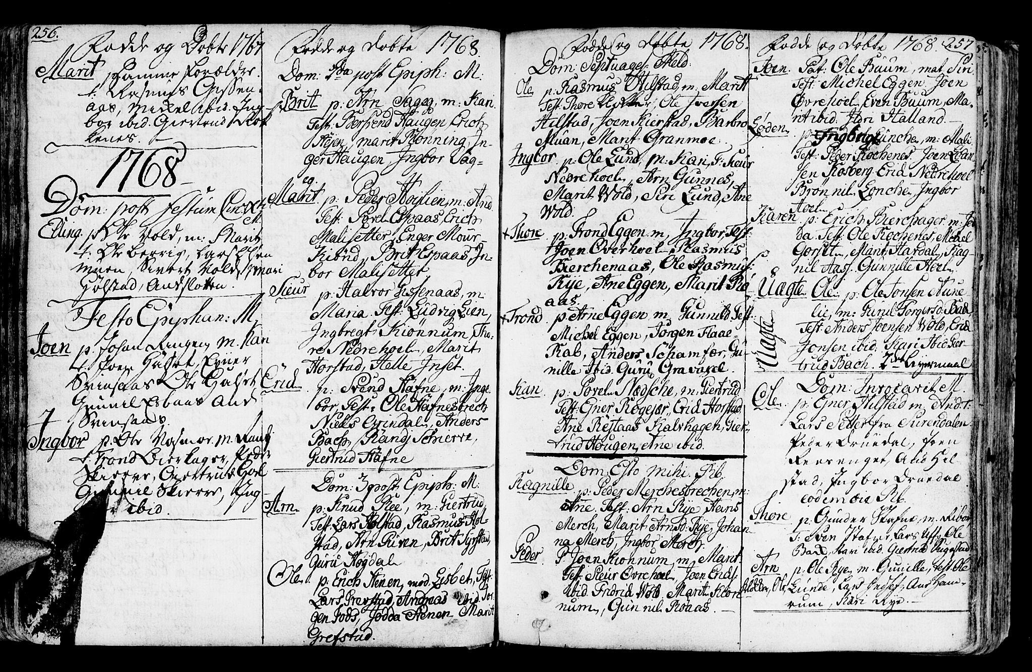 SAT, Ministerialprotokoller, klokkerbøker og fødselsregistre - Sør-Trøndelag, 672/L0851: Ministerialbok nr. 672A04, 1751-1775, s. 256-257