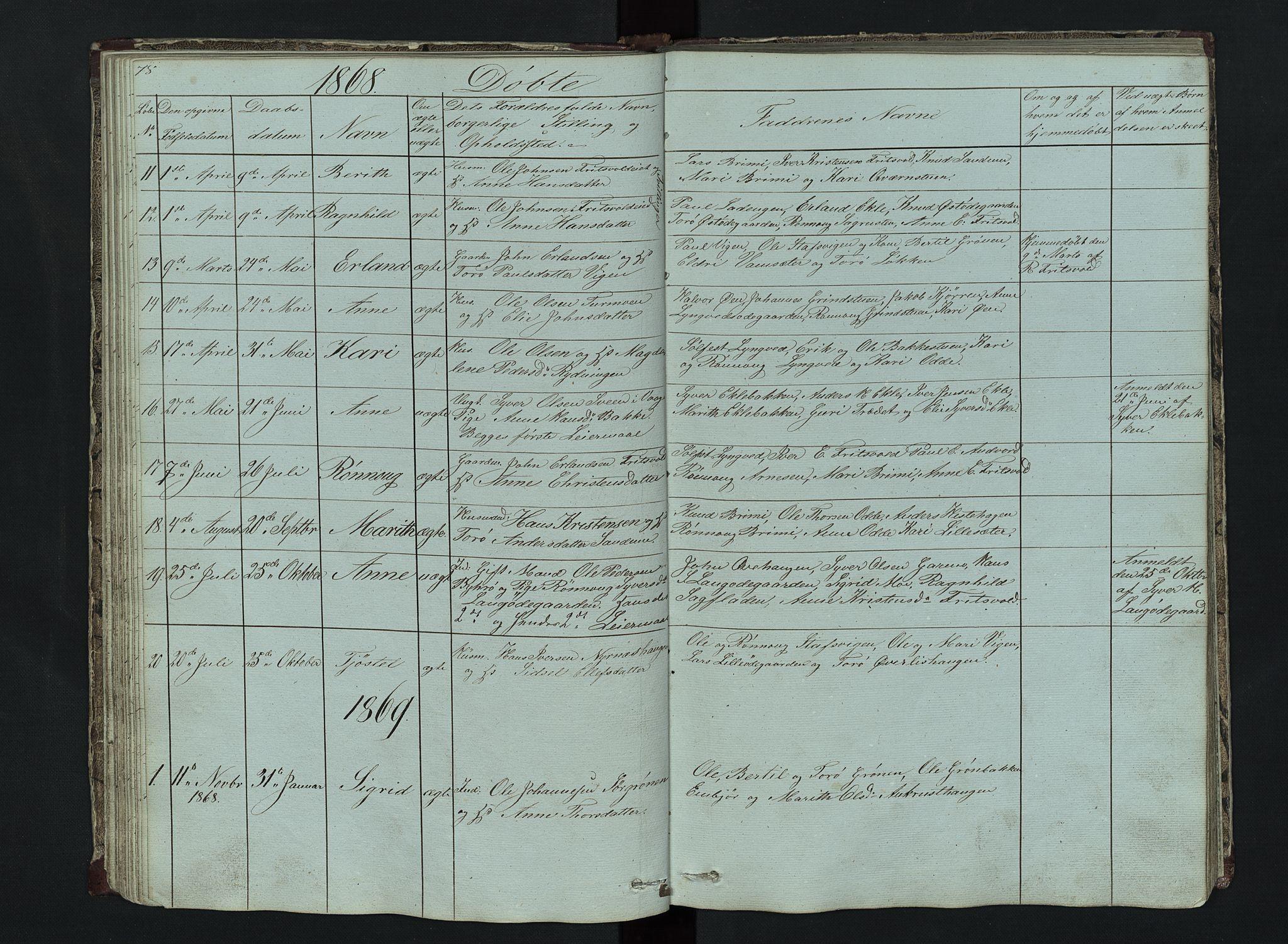 SAH, Lom prestekontor, L/L0014: Klokkerbok nr. 14, 1845-1876, s. 78-79