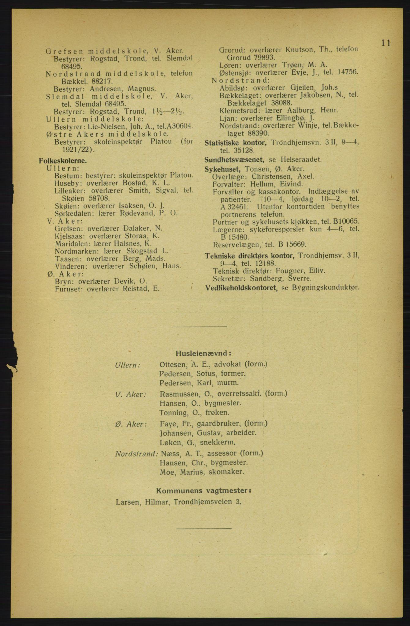 PUBL, Aker adressebok/adressekalender, 1922, s. 11