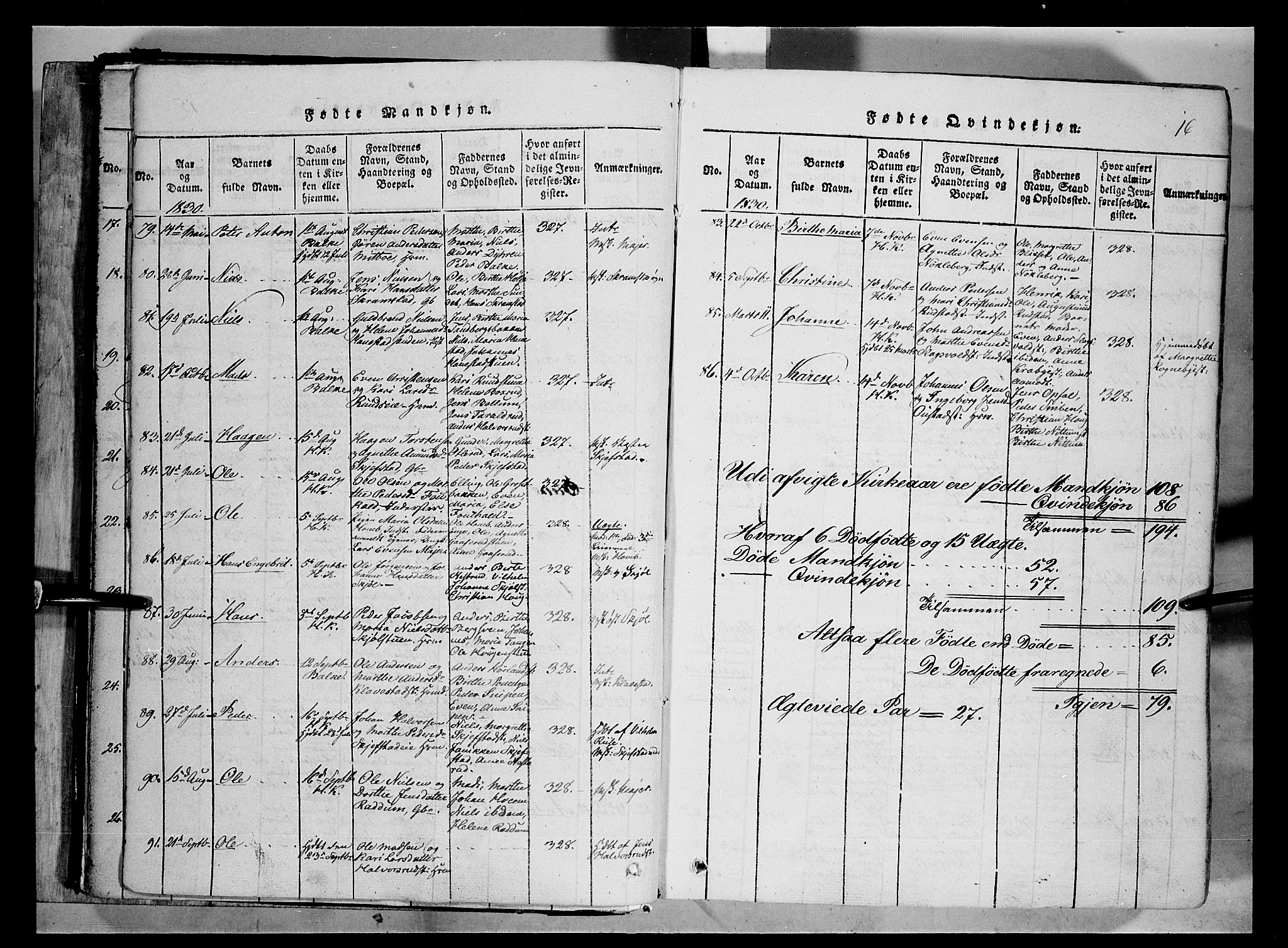 SAH, Østre Toten prestekontor, Ministerialbok nr. 1, 1828-1839, s. 16