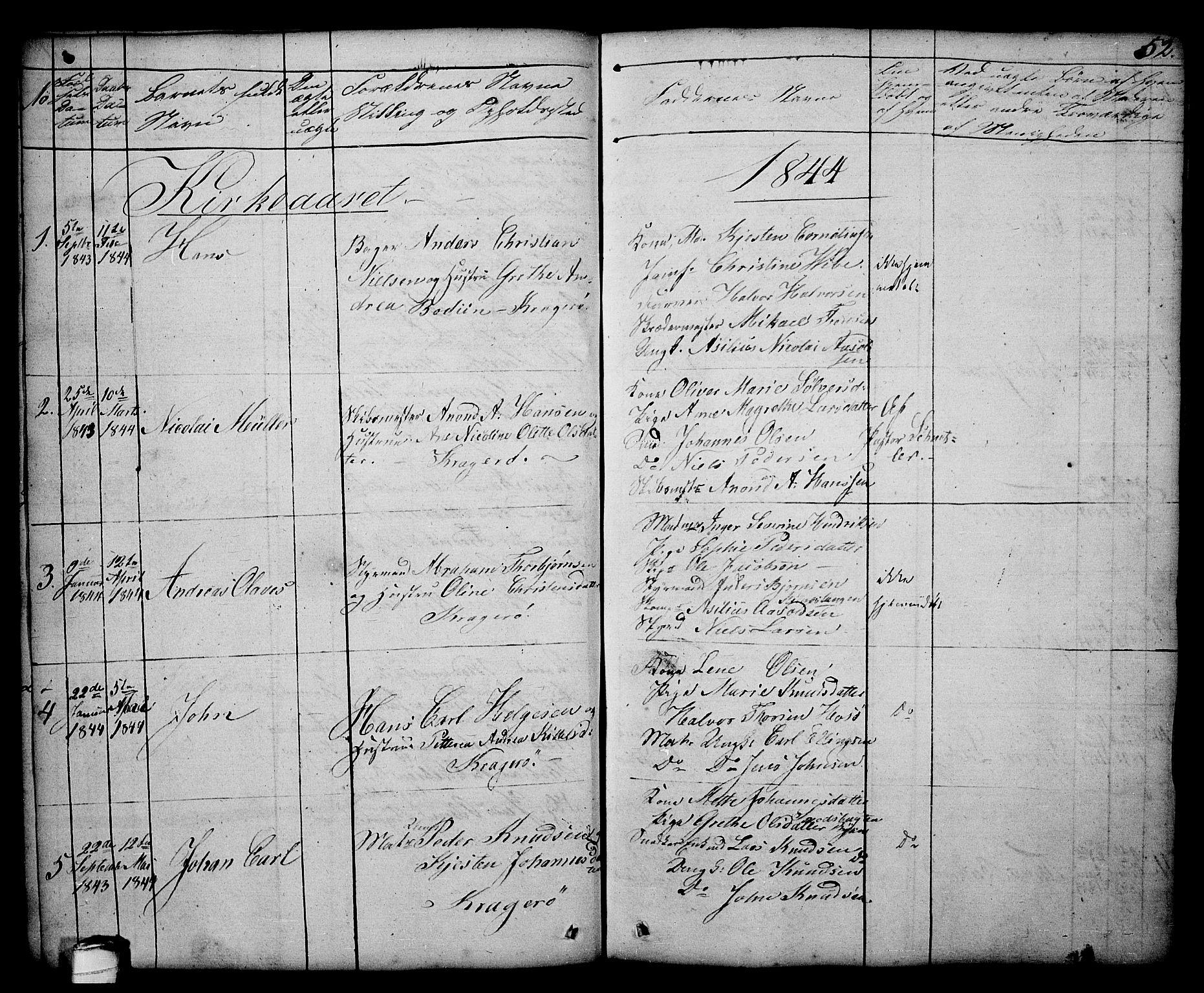 SAKO, Kragerø kirkebøker, G/Ga/L0003: Klokkerbok nr. 3, 1832-1852, s. 52