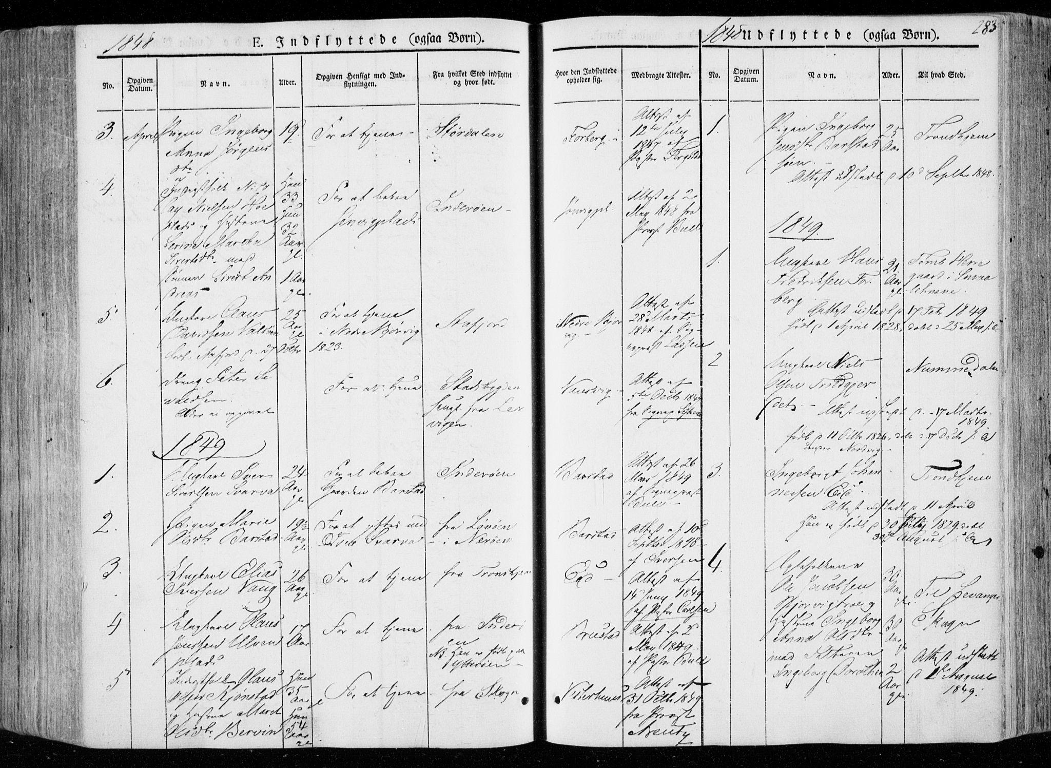 SAT, Ministerialprotokoller, klokkerbøker og fødselsregistre - Nord-Trøndelag, 722/L0218: Ministerialbok nr. 722A05, 1843-1868, s. 283