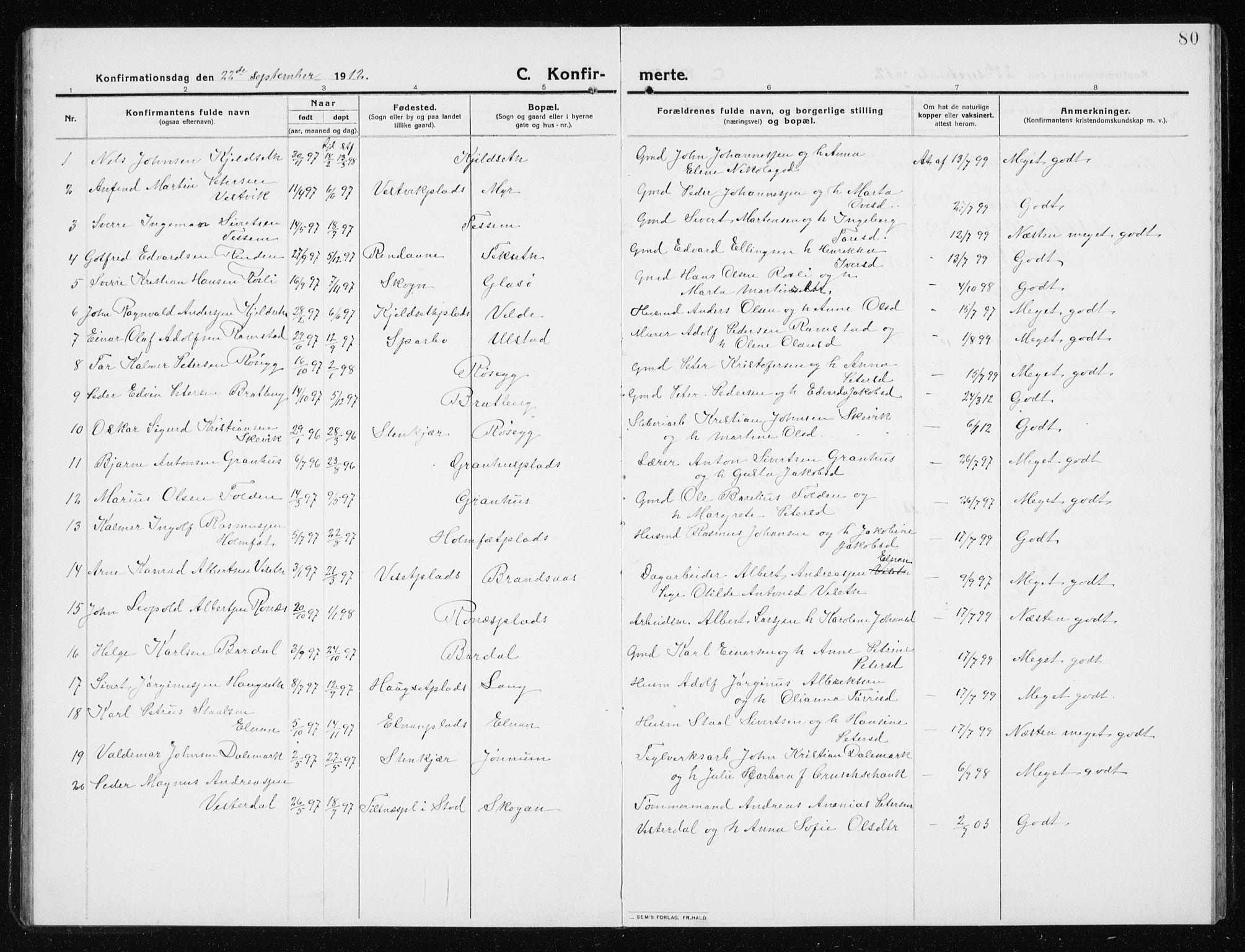SAT, Ministerialprotokoller, klokkerbøker og fødselsregistre - Nord-Trøndelag, 741/L0402: Klokkerbok nr. 741C03, 1911-1926, s. 80