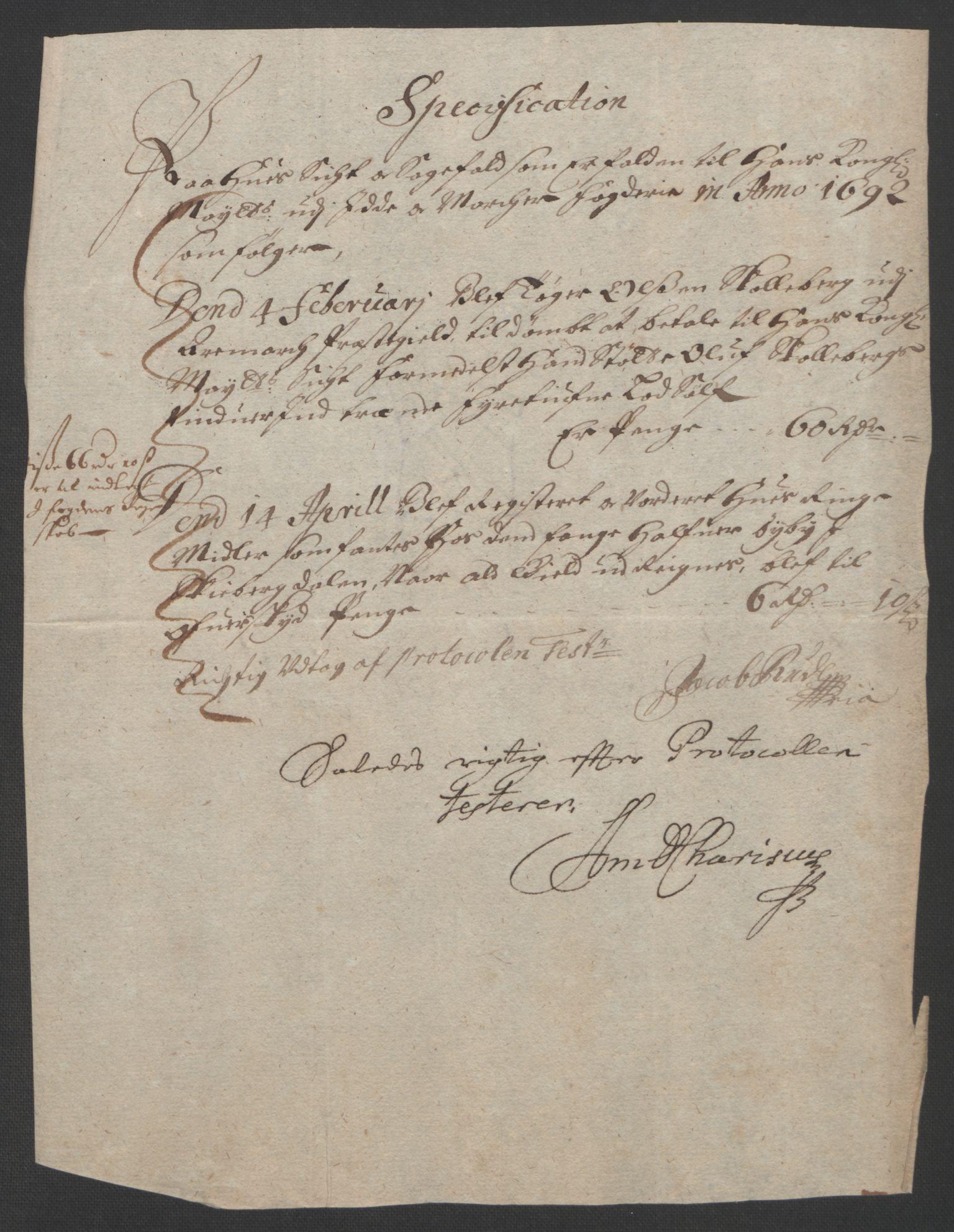 RA, Rentekammeret inntil 1814, Reviderte regnskaper, Fogderegnskap, R01/L0011: Fogderegnskap Idd og Marker, 1692-1693, s. 54