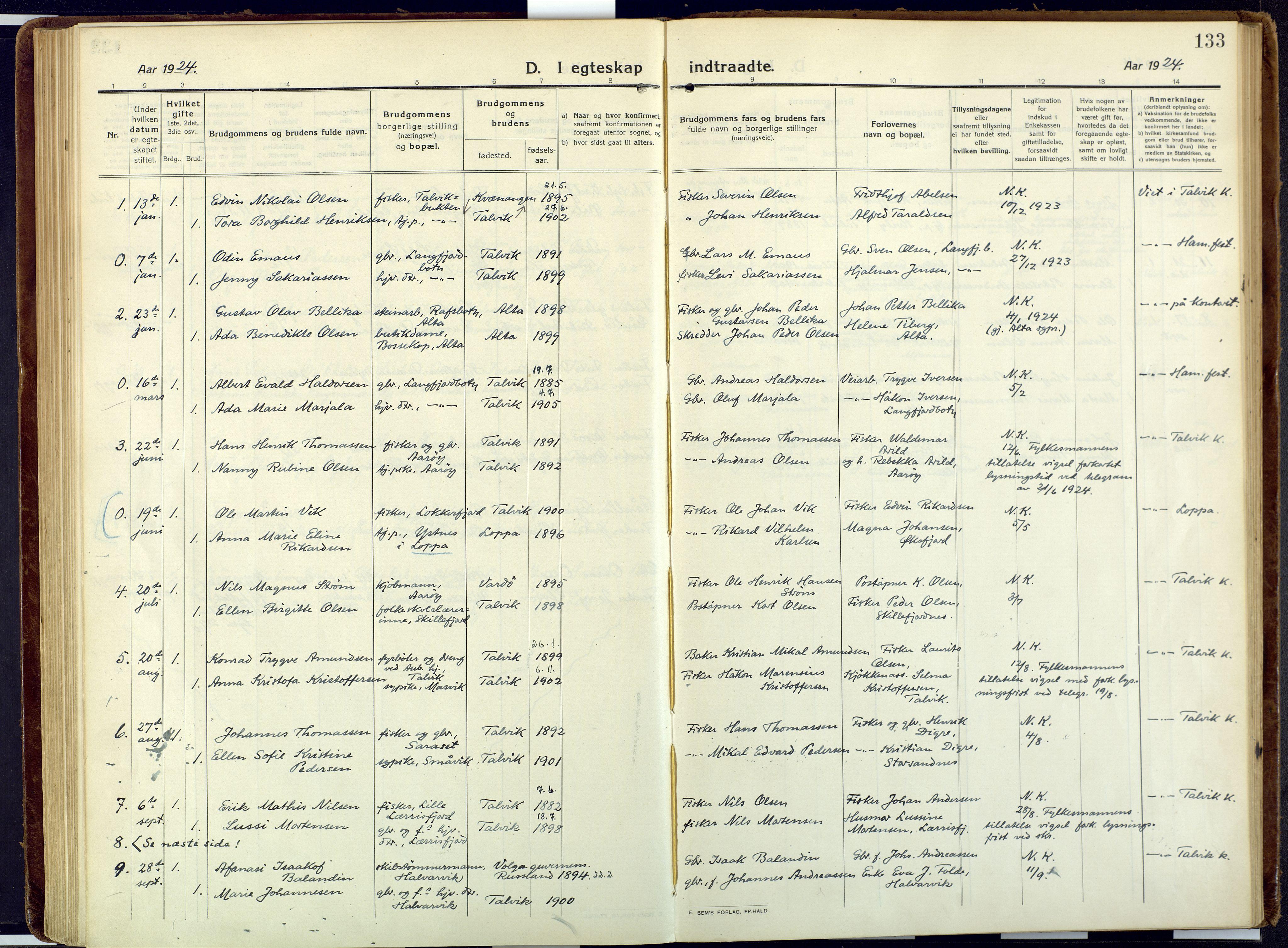 SATØ, Talvik sokneprestkontor, H/Ha/L0018kirke: Ministerialbok nr. 18, 1915-1924, s. 133