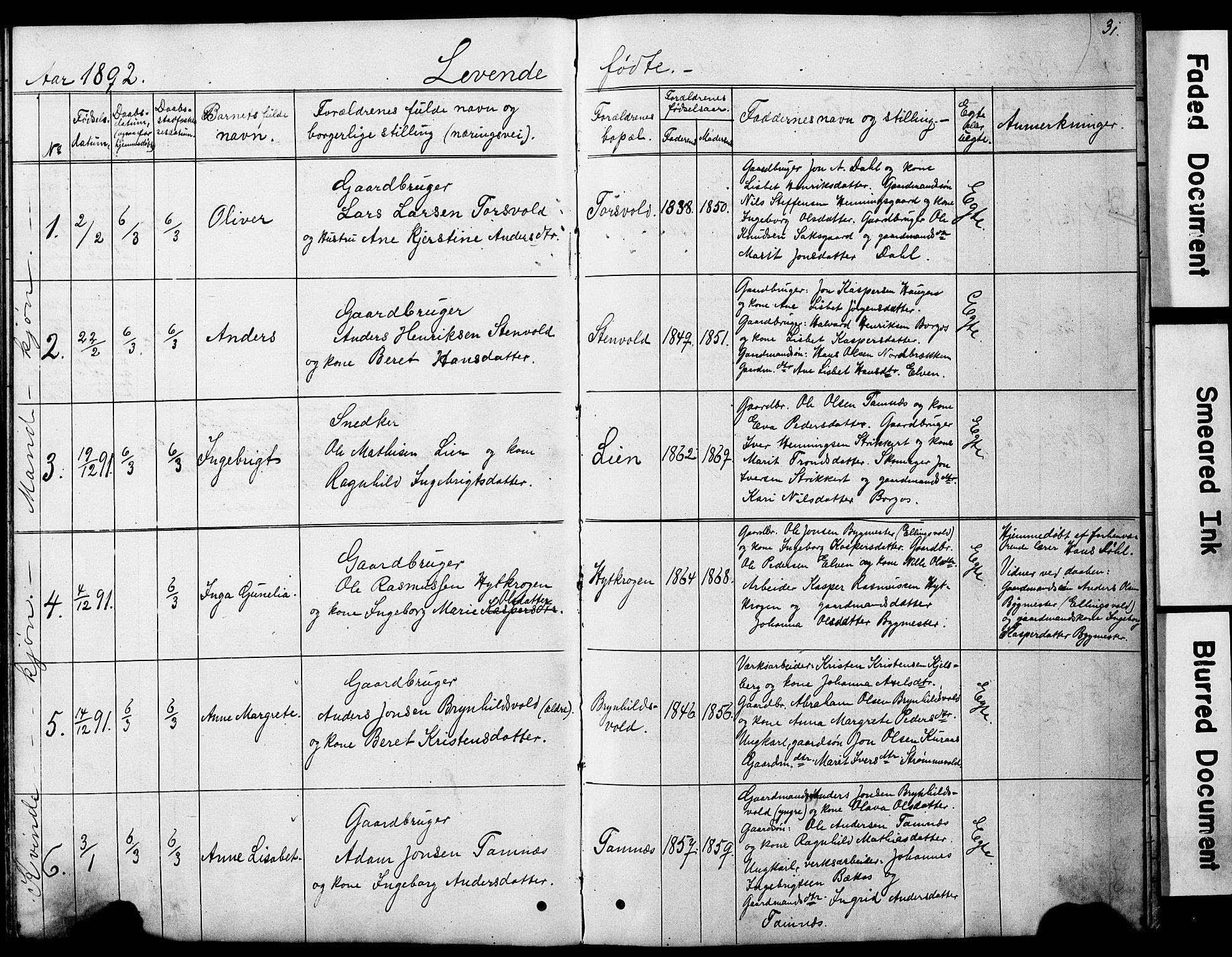 SAT, Ministerialprotokoller, klokkerbøker og fødselsregistre - Sør-Trøndelag, 683/L0949: Klokkerbok nr. 683C01, 1880-1896, s. 31