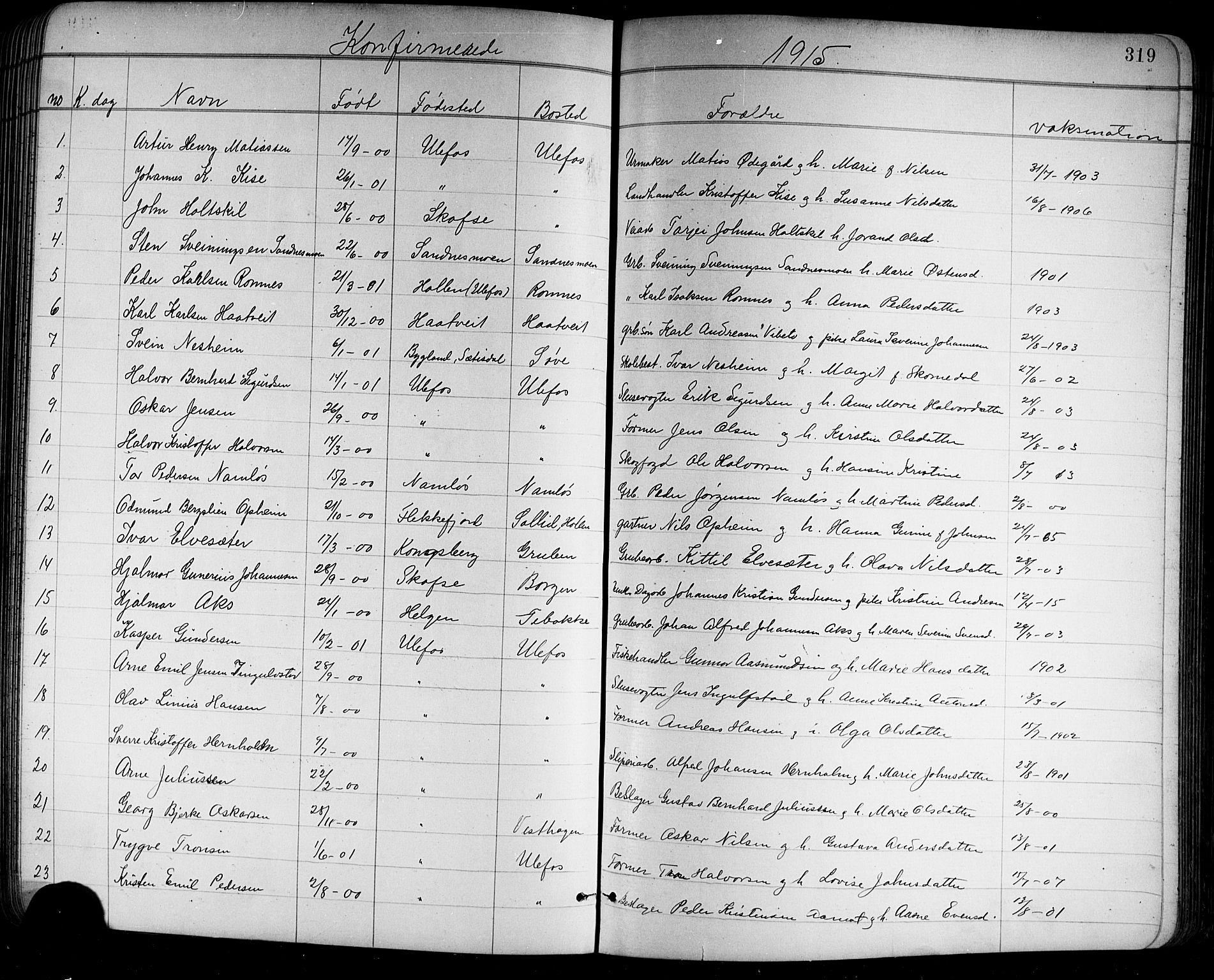 SAKO, Holla kirkebøker, G/Ga/L0005: Klokkerbok nr. I 5, 1891-1917, s. 319