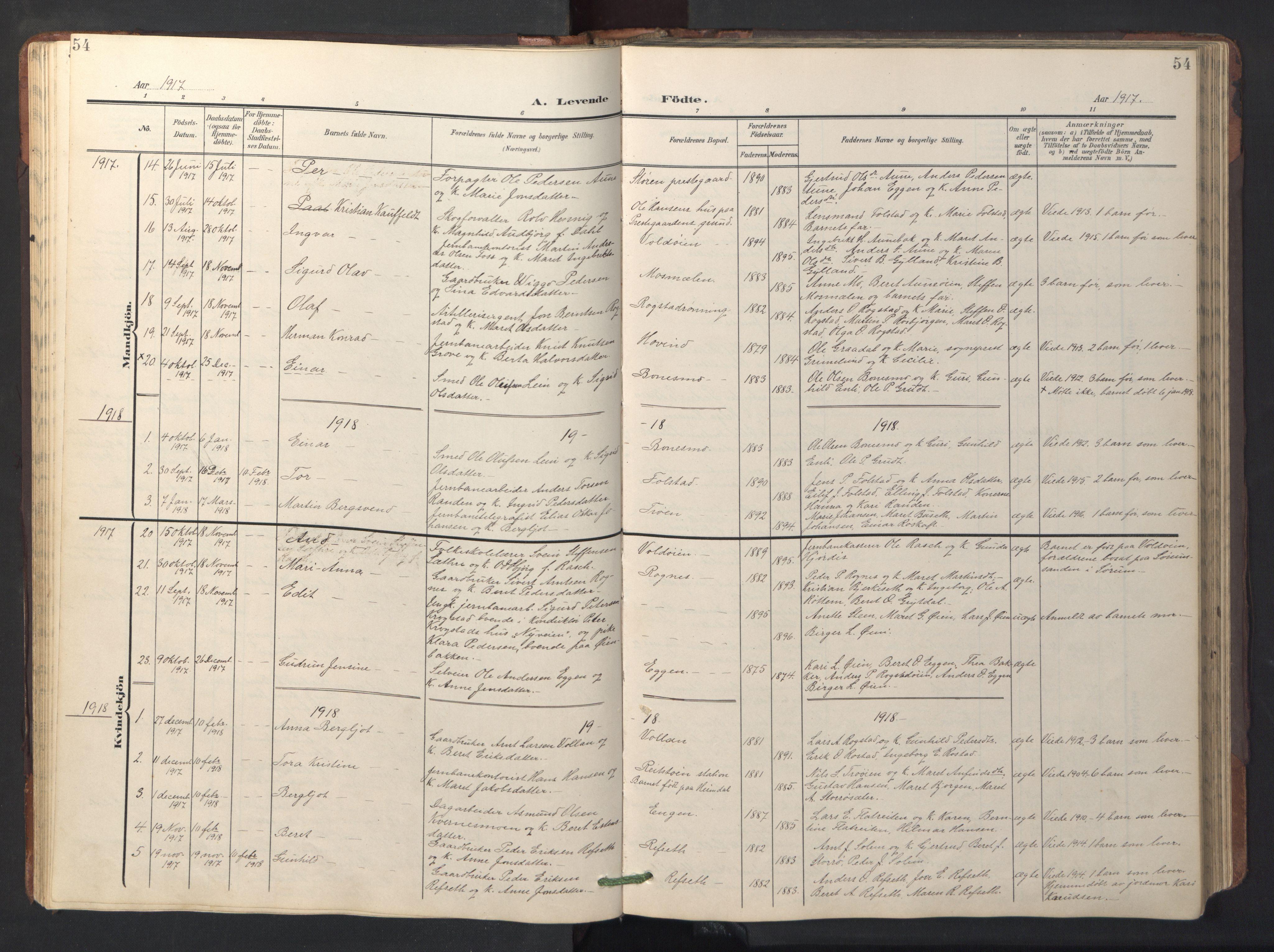 SAT, Ministerialprotokoller, klokkerbøker og fødselsregistre - Sør-Trøndelag, 687/L1019: Klokkerbok nr. 687C03, 1904-1931, s. 54