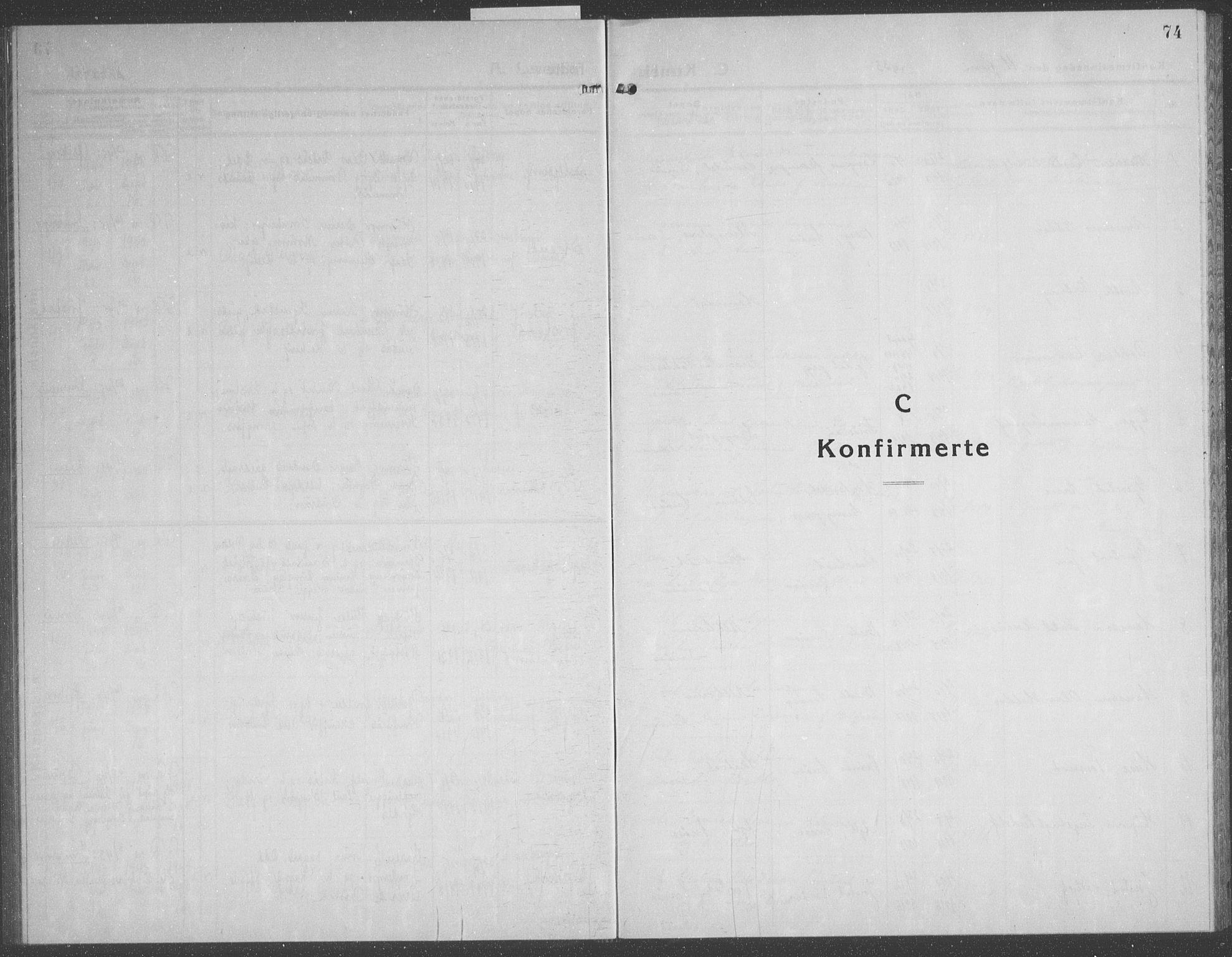 SAT, Ministerialprotokoller, klokkerbøker og fødselsregistre - Nord-Trøndelag, 749/L0481: Klokkerbok nr. 749C03, 1933-1945, s. 74