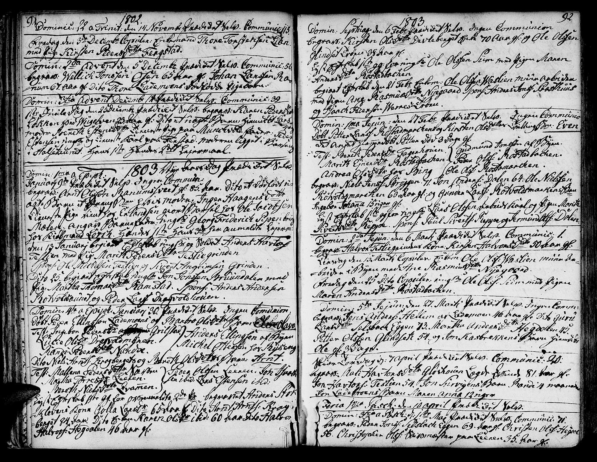 SAT, Ministerialprotokoller, klokkerbøker og fødselsregistre - Sør-Trøndelag, 606/L0280: Ministerialbok nr. 606A02 /1, 1781-1817, s. 91-92