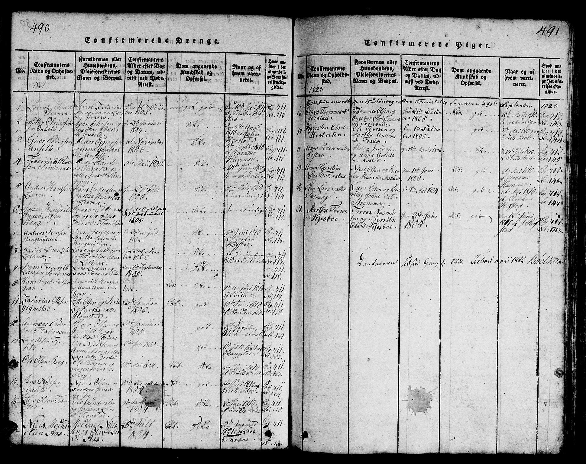 SAT, Ministerialprotokoller, klokkerbøker og fødselsregistre - Nord-Trøndelag, 730/L0298: Klokkerbok nr. 730C01, 1816-1849, s. 490-491
