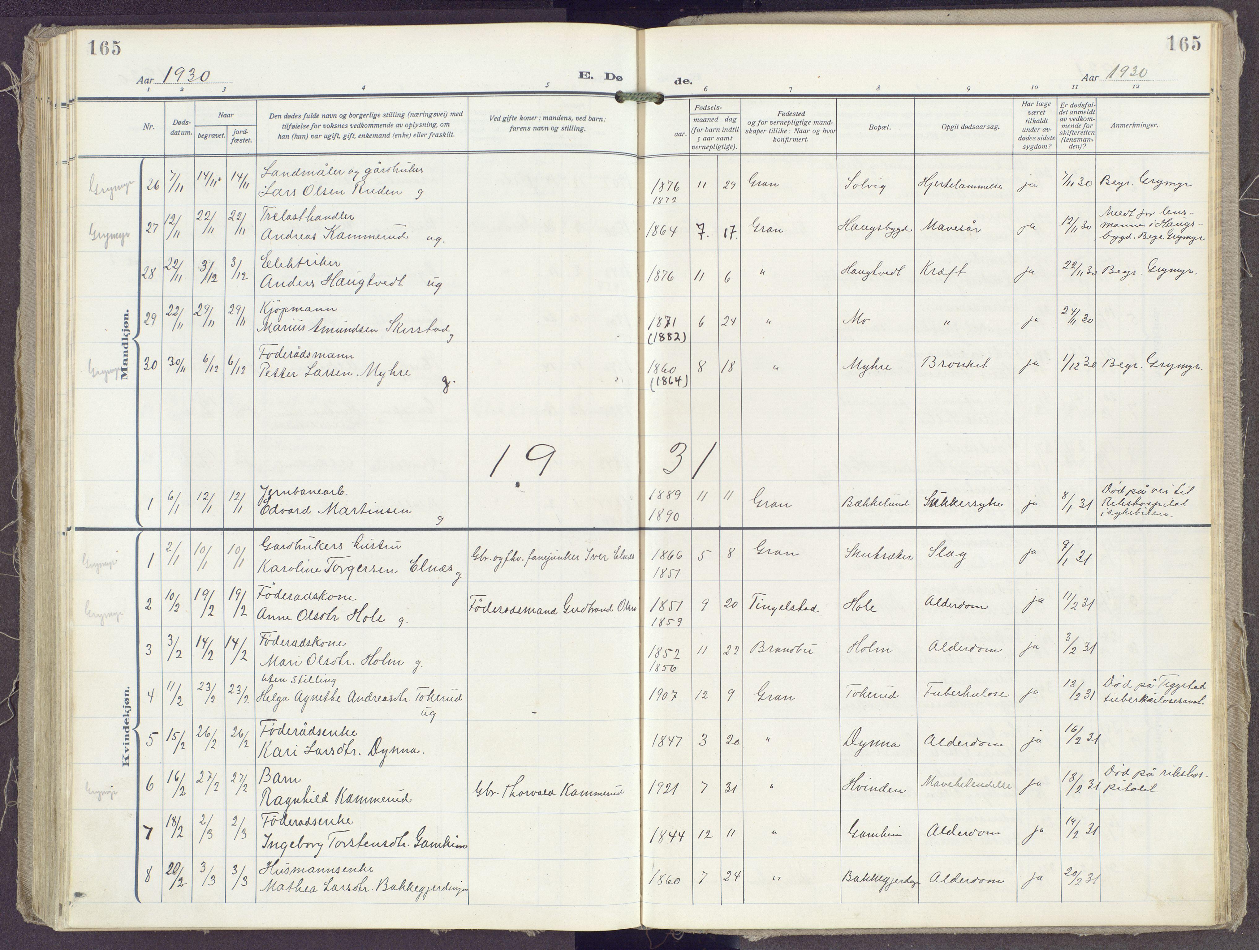 SAH, Gran prestekontor, Ministerialbok nr. 23, 1919-1938, s. 165