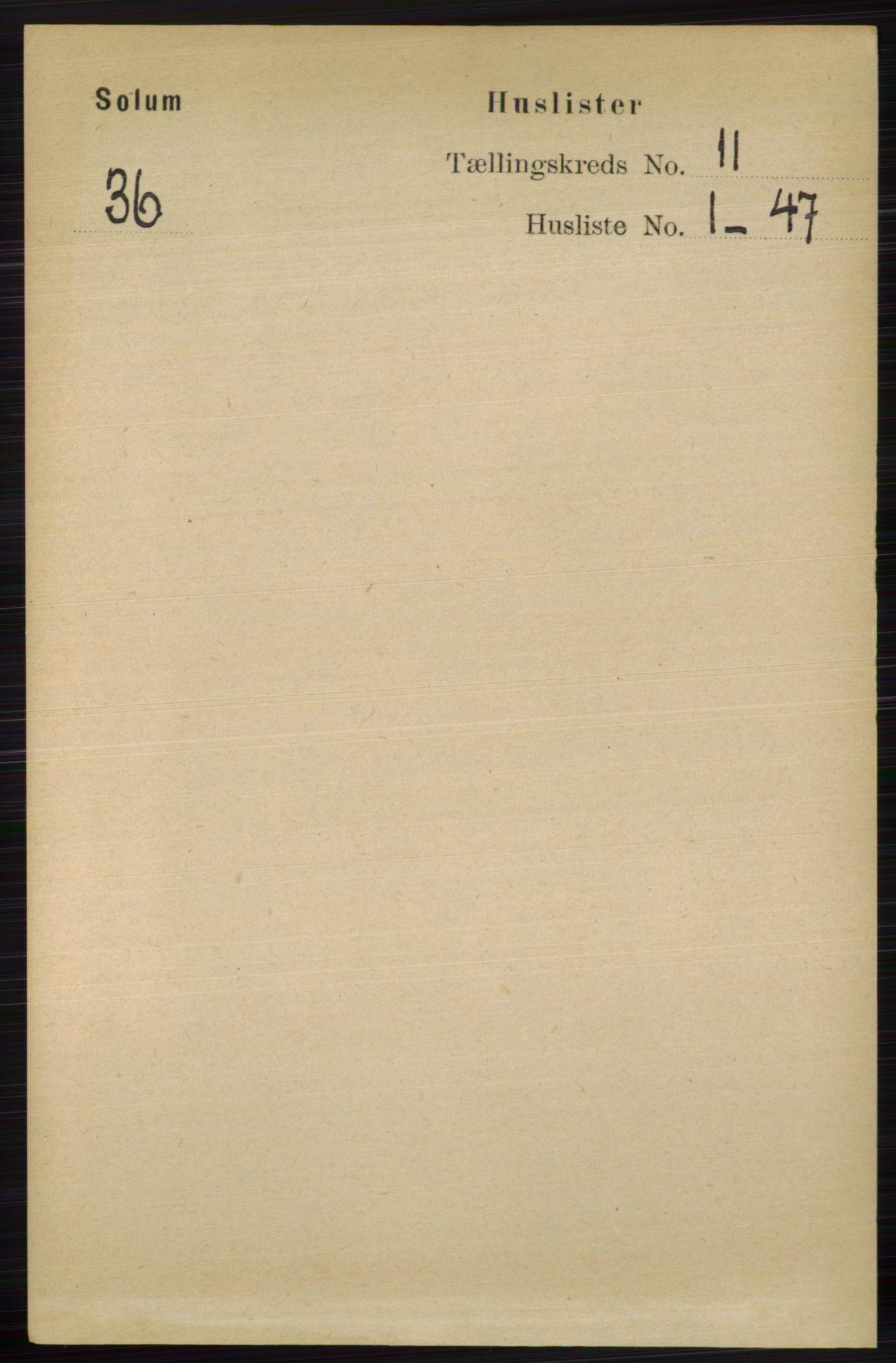 RA, Folketelling 1891 for 0818 Solum herred, 1891, s. 5236