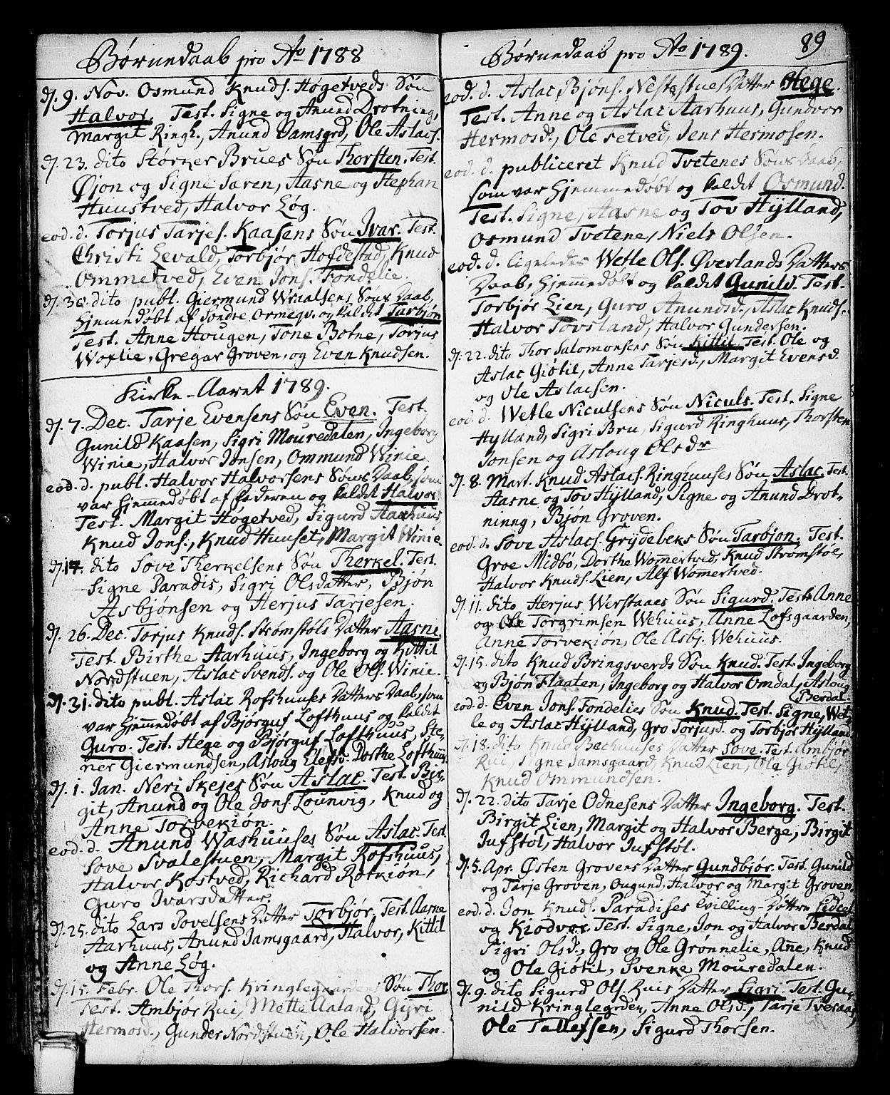 SAKO, Vinje kirkebøker, F/Fa/L0002: Ministerialbok nr. I 2, 1767-1814, s. 89