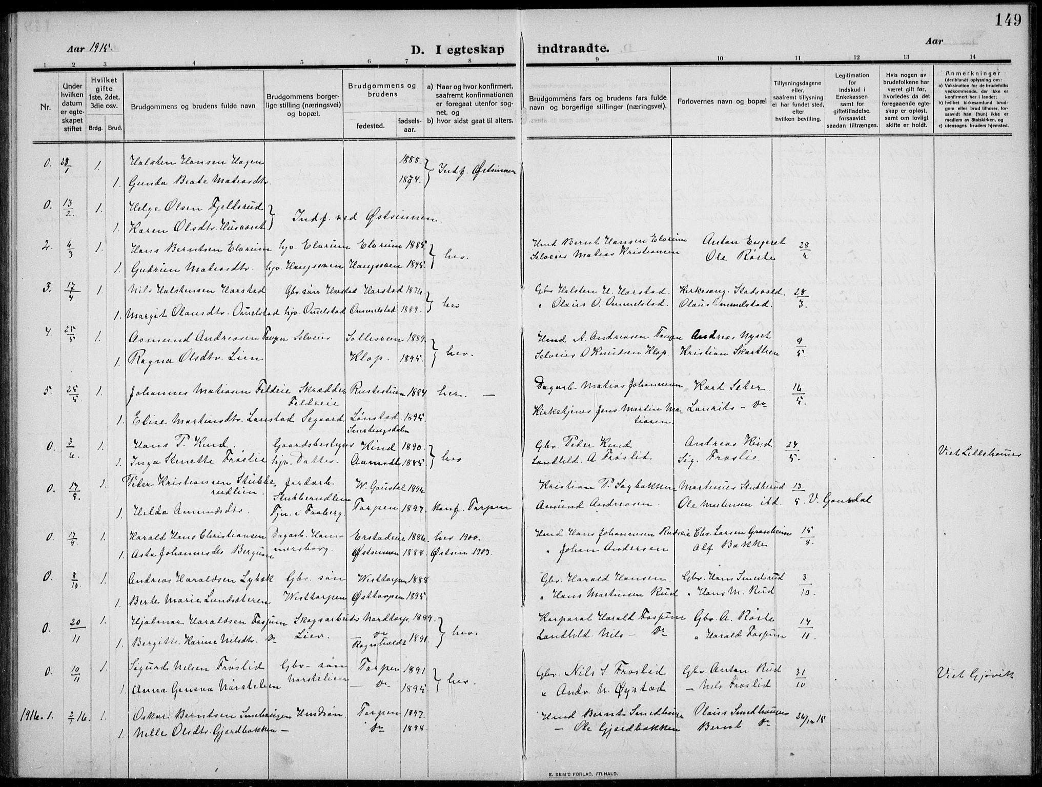 SAH, Nordre Land prestekontor, Klokkerbok nr. 2, 1909-1934, s. 149