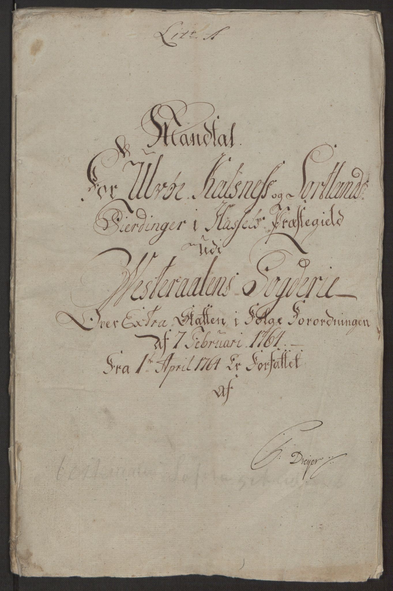 RA, Rentekammeret inntil 1814, Realistisk ordnet avdeling, Ol/L0022a: [Gg 10]: Ekstraskatten, 23.09.1762. Nordlands amt, 1763-1769, s. 2