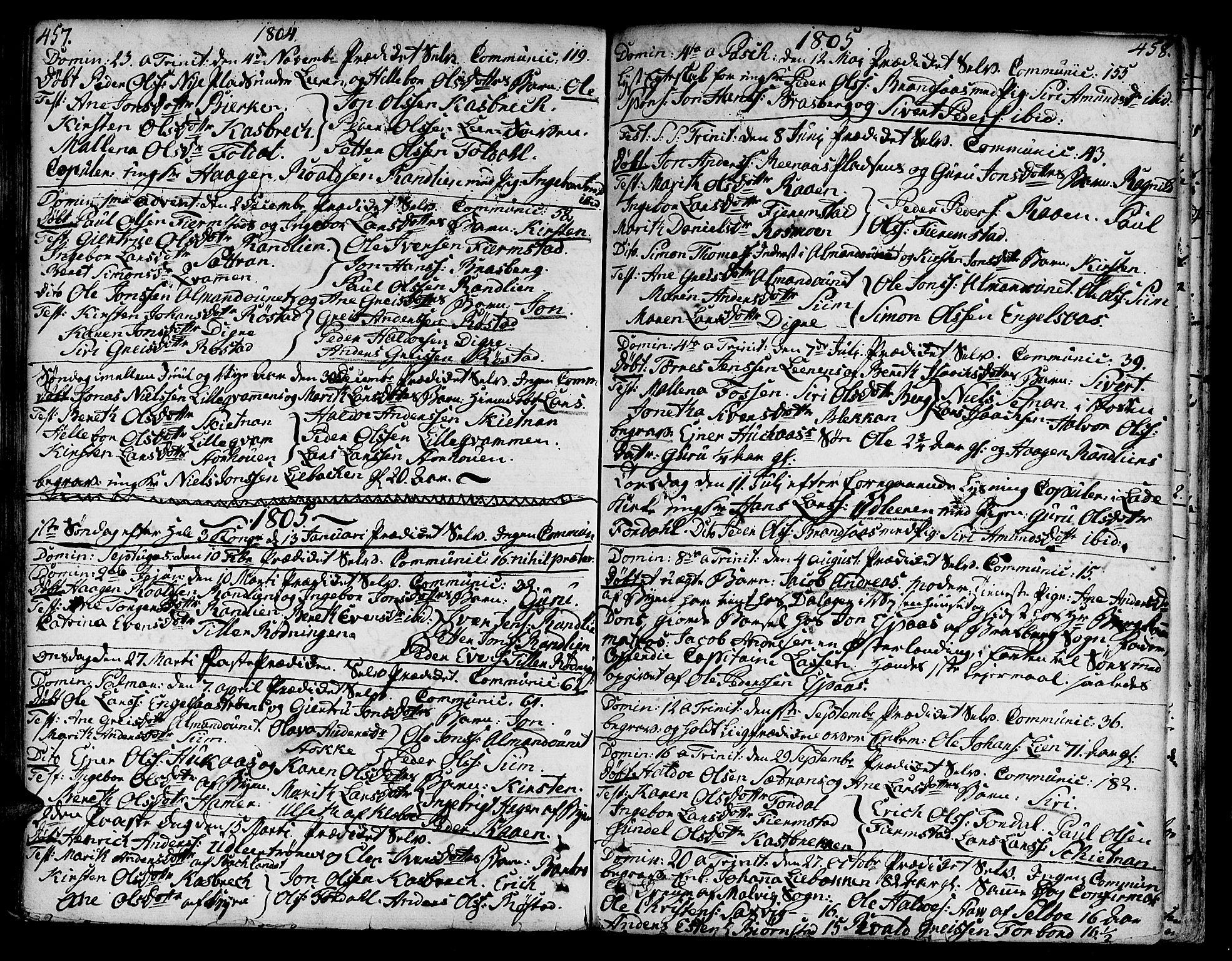 SAT, Ministerialprotokoller, klokkerbøker og fødselsregistre - Sør-Trøndelag, 606/L0282: Ministerialbok nr. 606A02 /3, 1781-1817, s. 457-458