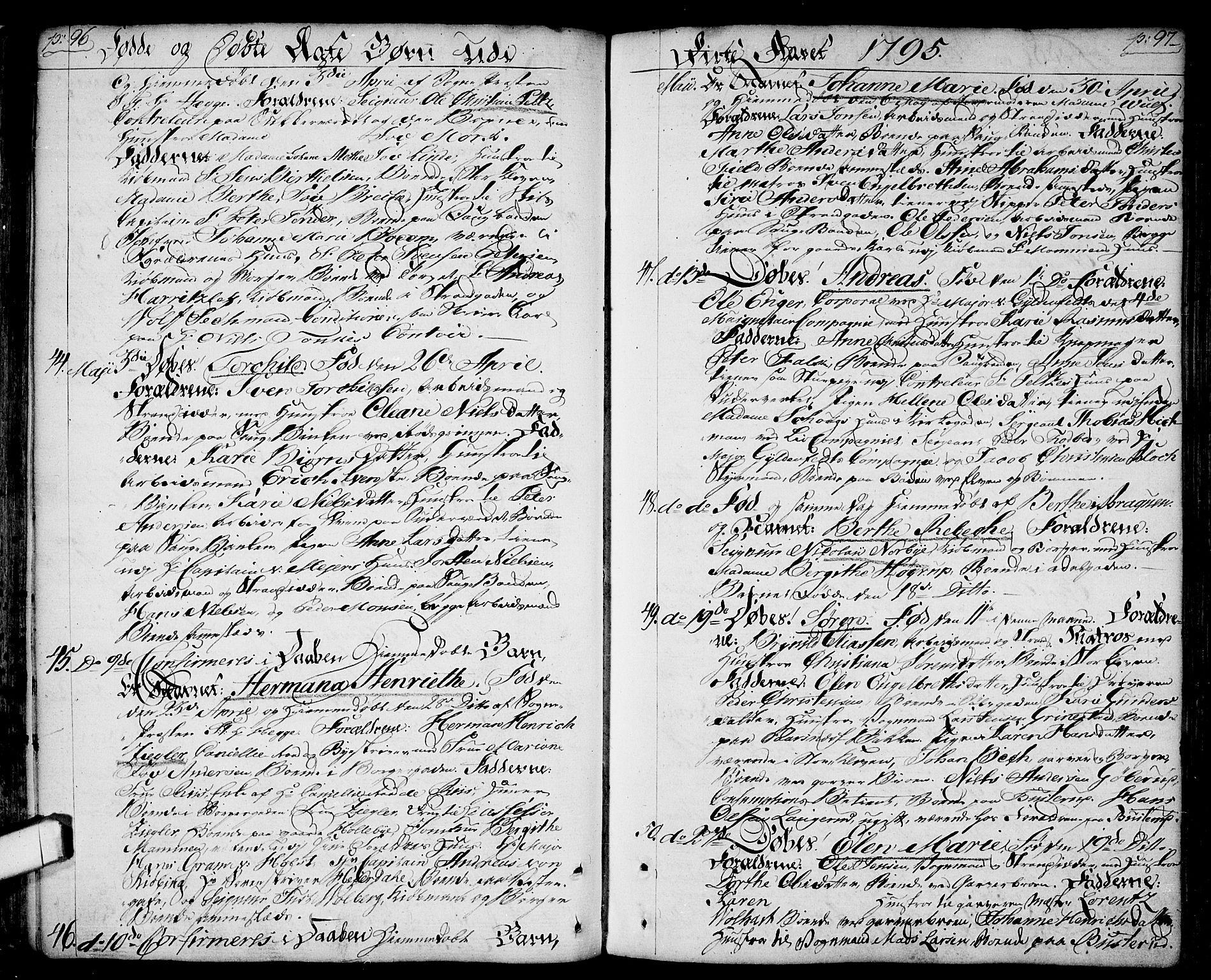 SAO, Halden prestekontor Kirkebøker, F/Fa/L0002: Ministerialbok nr. I 2, 1792-1812, s. 96-97