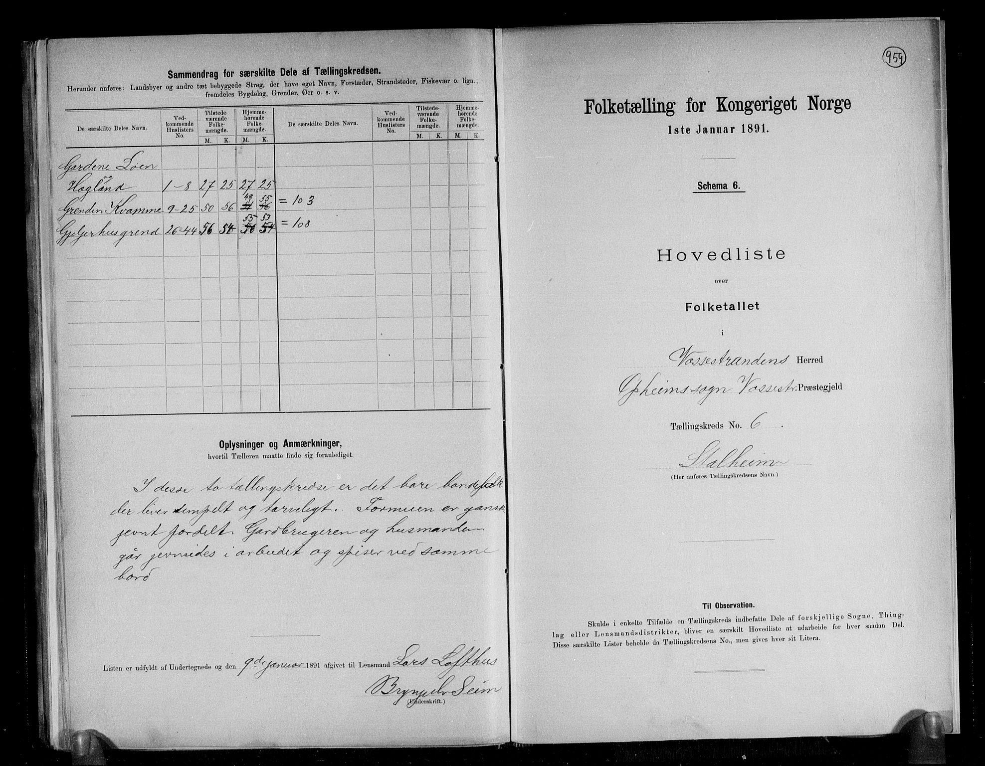 RA, Folketelling 1891 for 1236 Vossestrand herred, 1891, s. 14