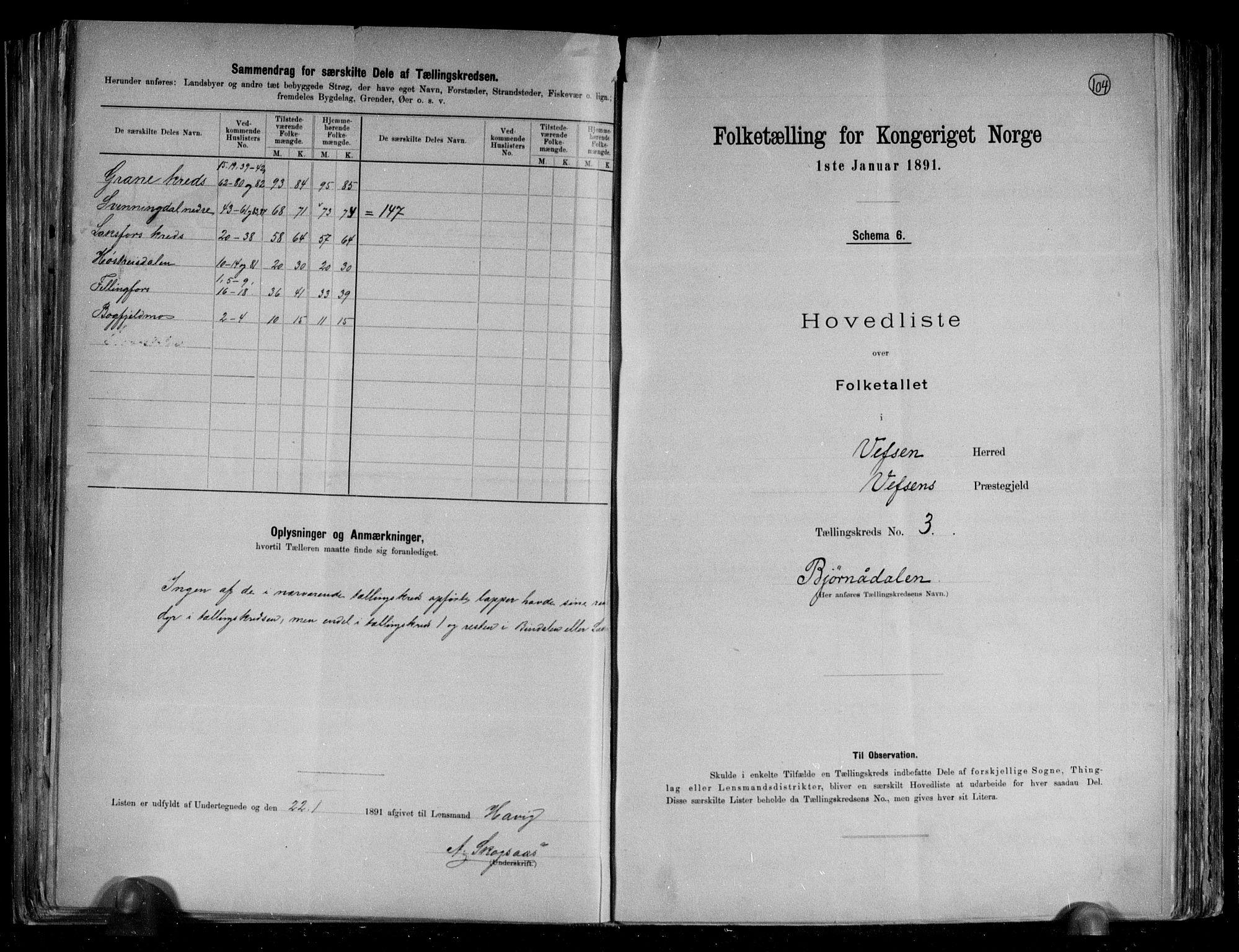 RA, Folketelling 1891 for 1824 Vefsn herred, 1891, s. 8