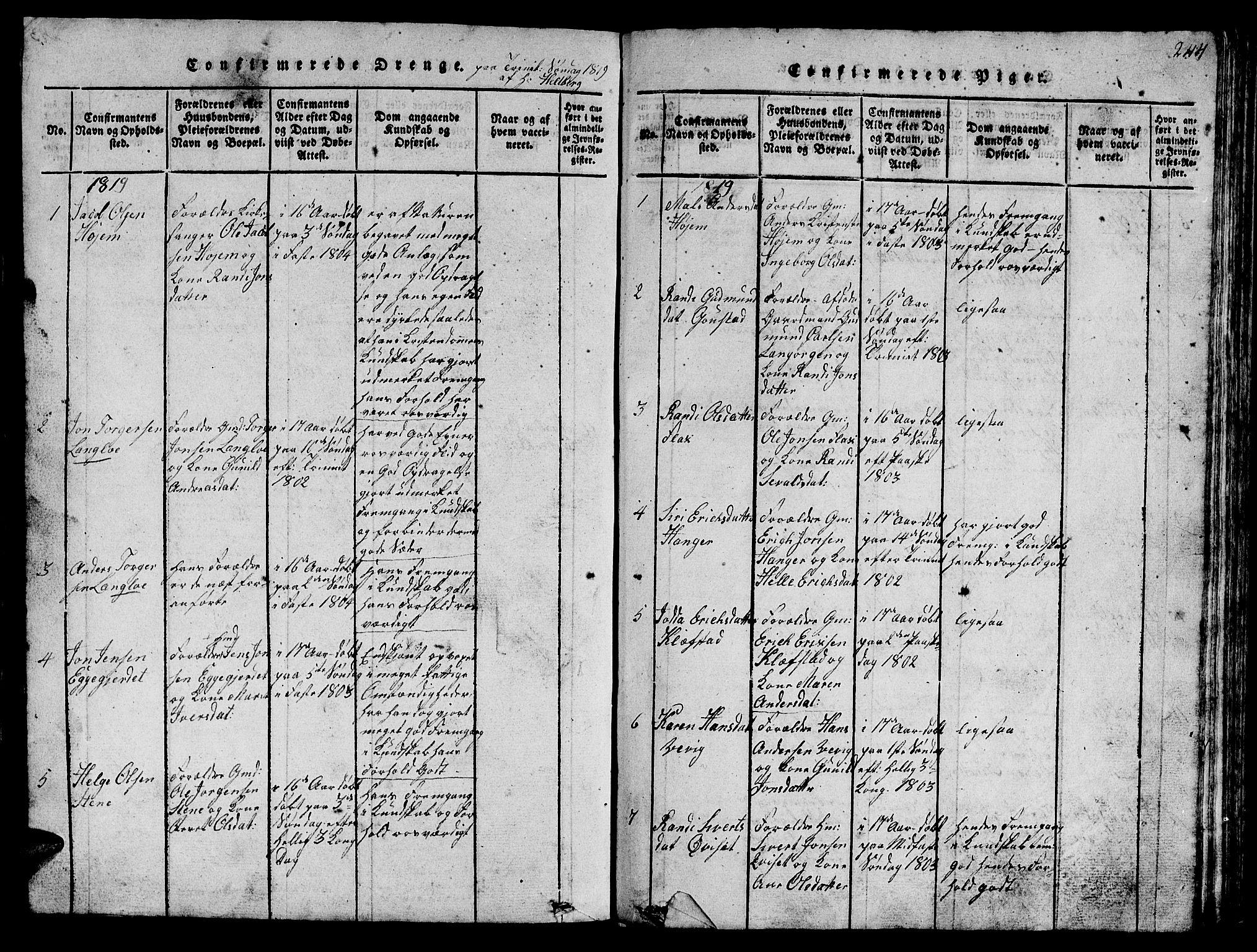 SAT, Ministerialprotokoller, klokkerbøker og fødselsregistre - Sør-Trøndelag, 612/L0385: Klokkerbok nr. 612C01, 1816-1845, s. 244